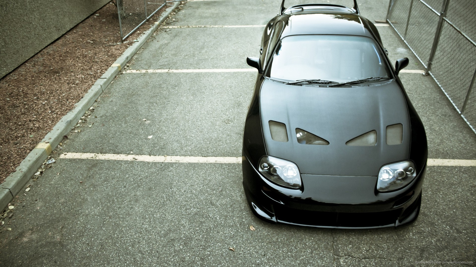 Black Toyota Supra Top View for 1920×1080