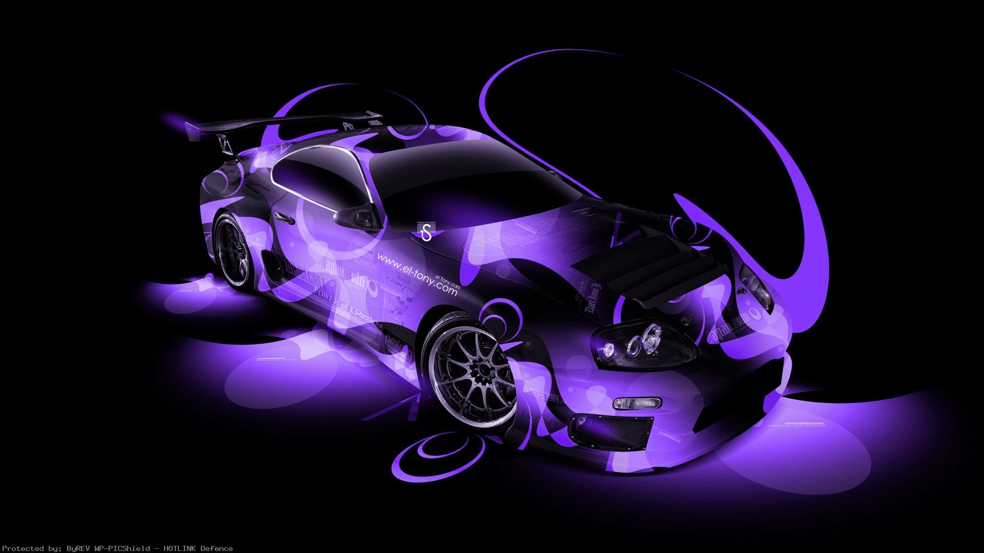 Toyota-Supra-Tuning-JDM-Super-Abstract-Car-Violet-
