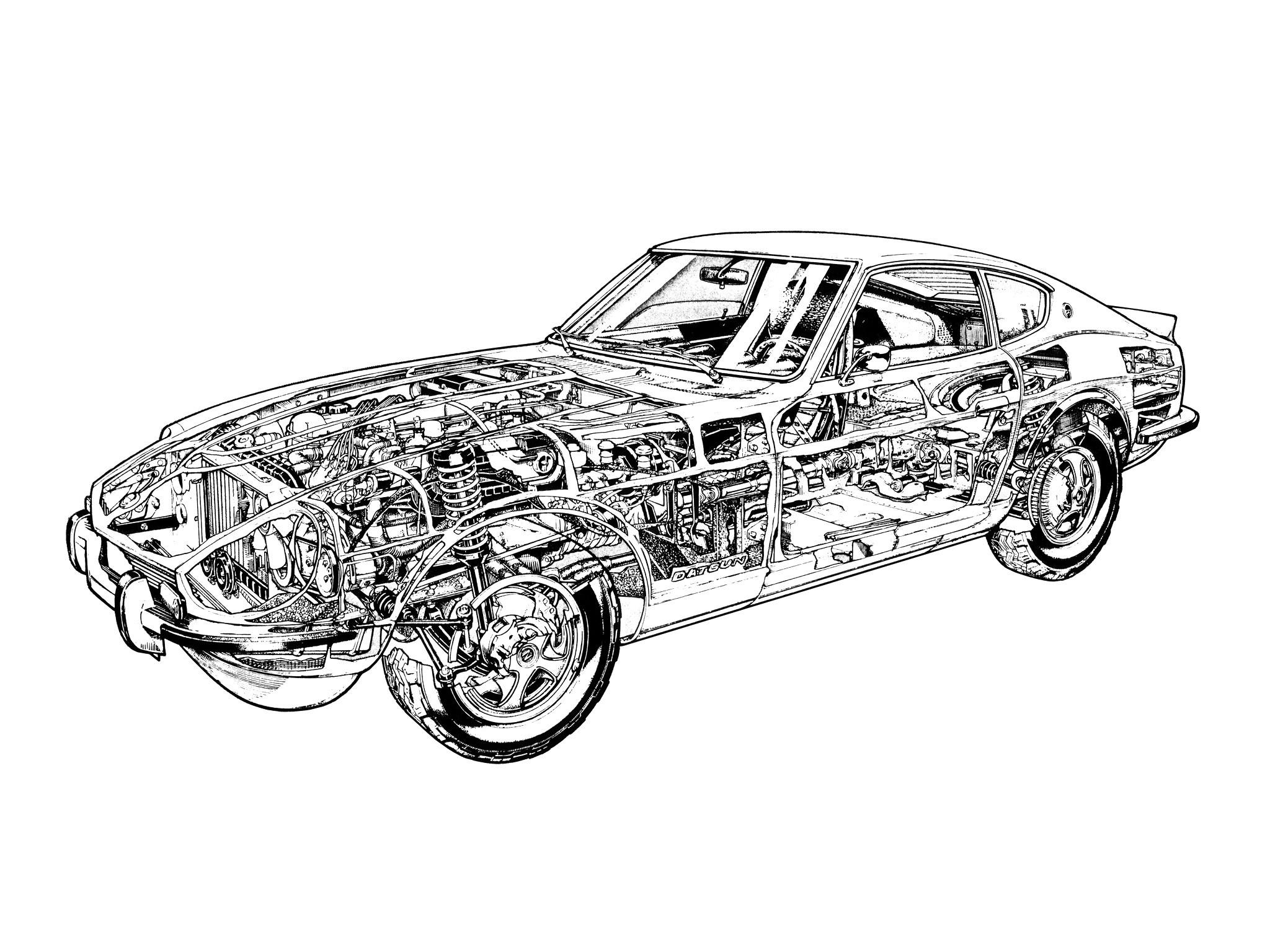 1969aei74 Datsun 240Z (HS30) classic interior engine h wallpaper