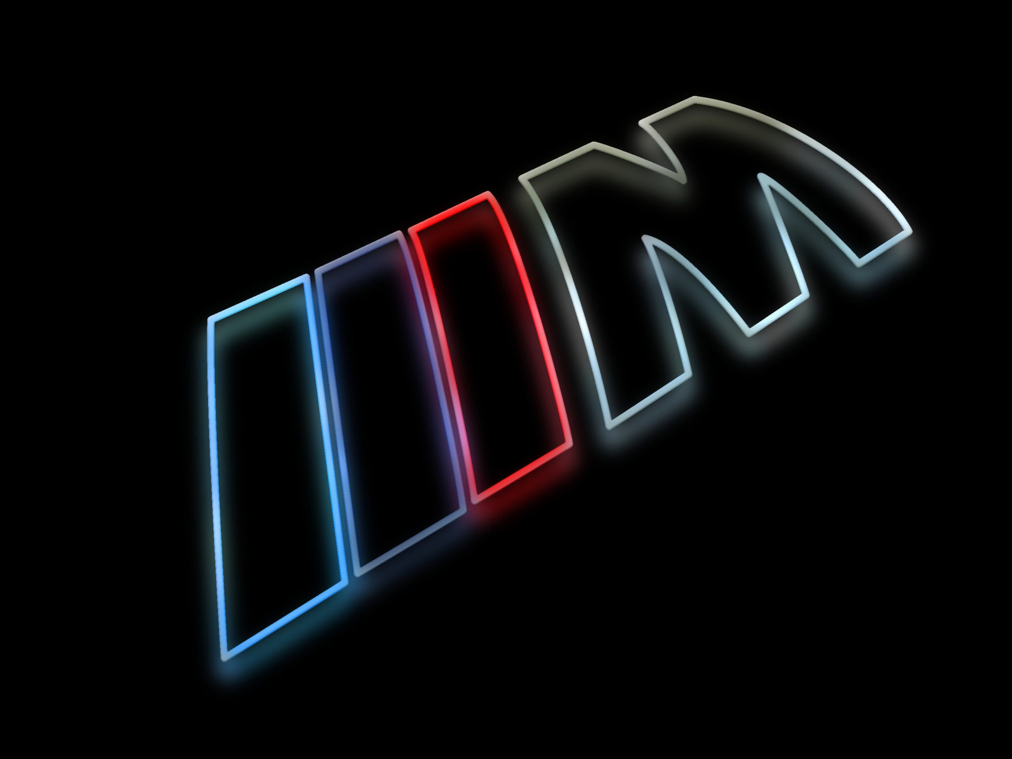BMW M Logo as a colorful silhouette rendering with a glow against a shiny  black surface