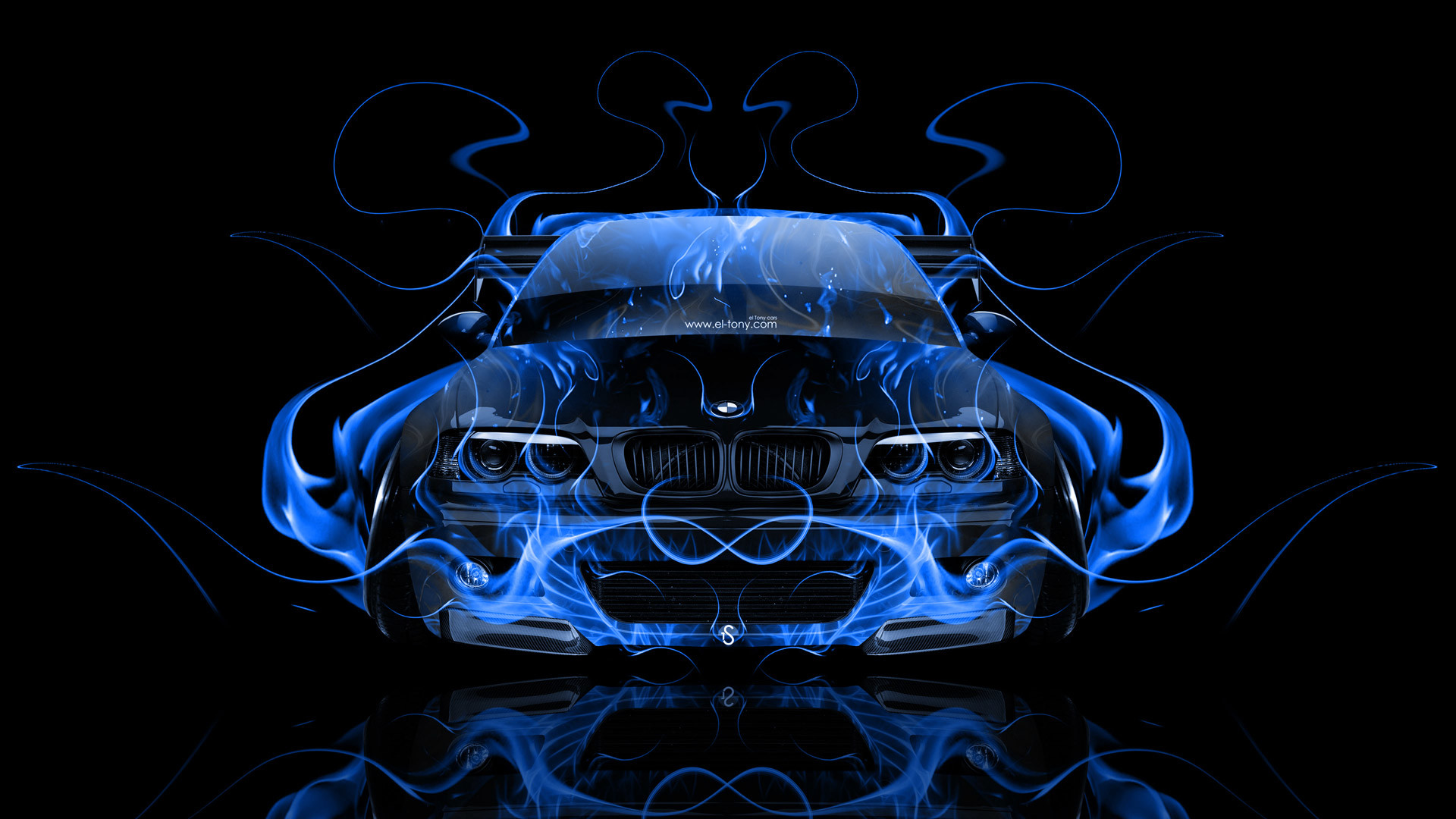Bmw M3 E46 Tuning Front Blue Fire Abstract