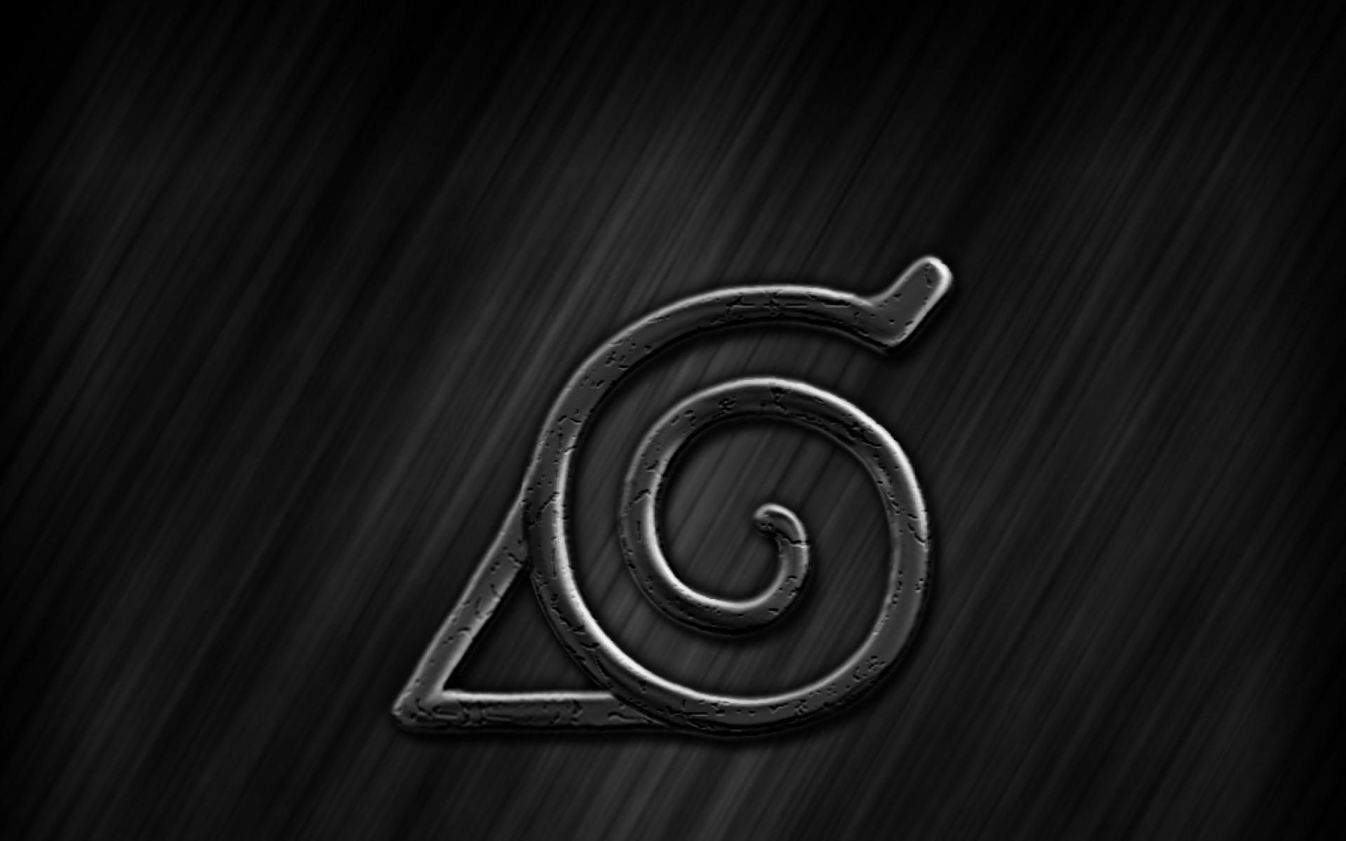 Konohagakure Logo, anmie, Naruto, black 3d background Image Wallpaper