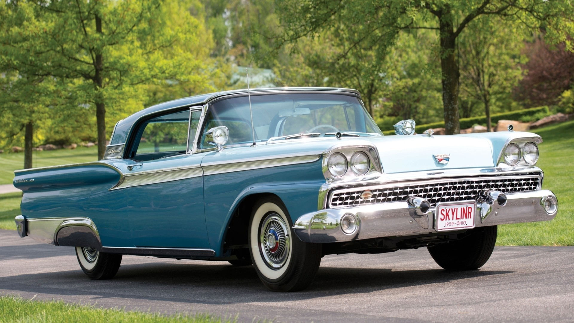 Preview wallpaper ford, fairlane, 500, skyliner, retractable, side view,  hardtop