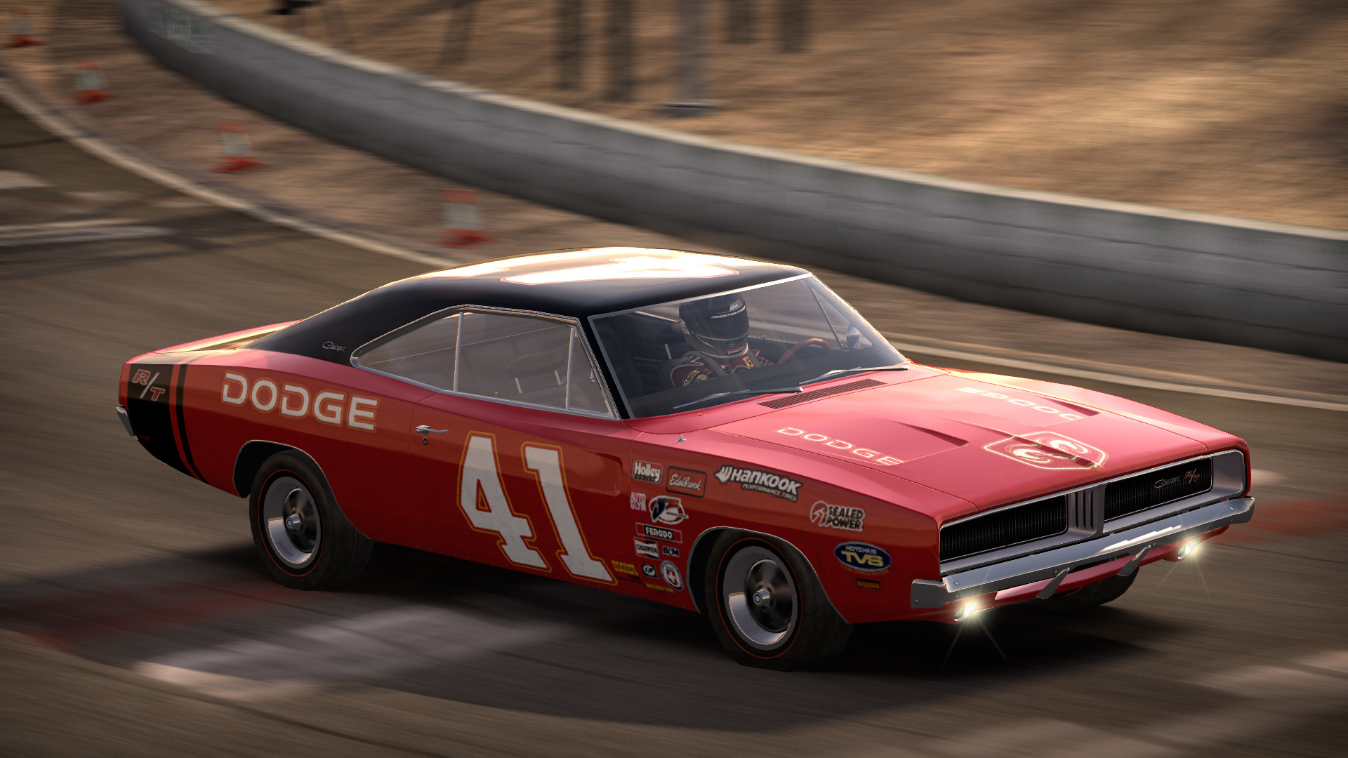 1969 Dodge Charger R/T racing game graphic.