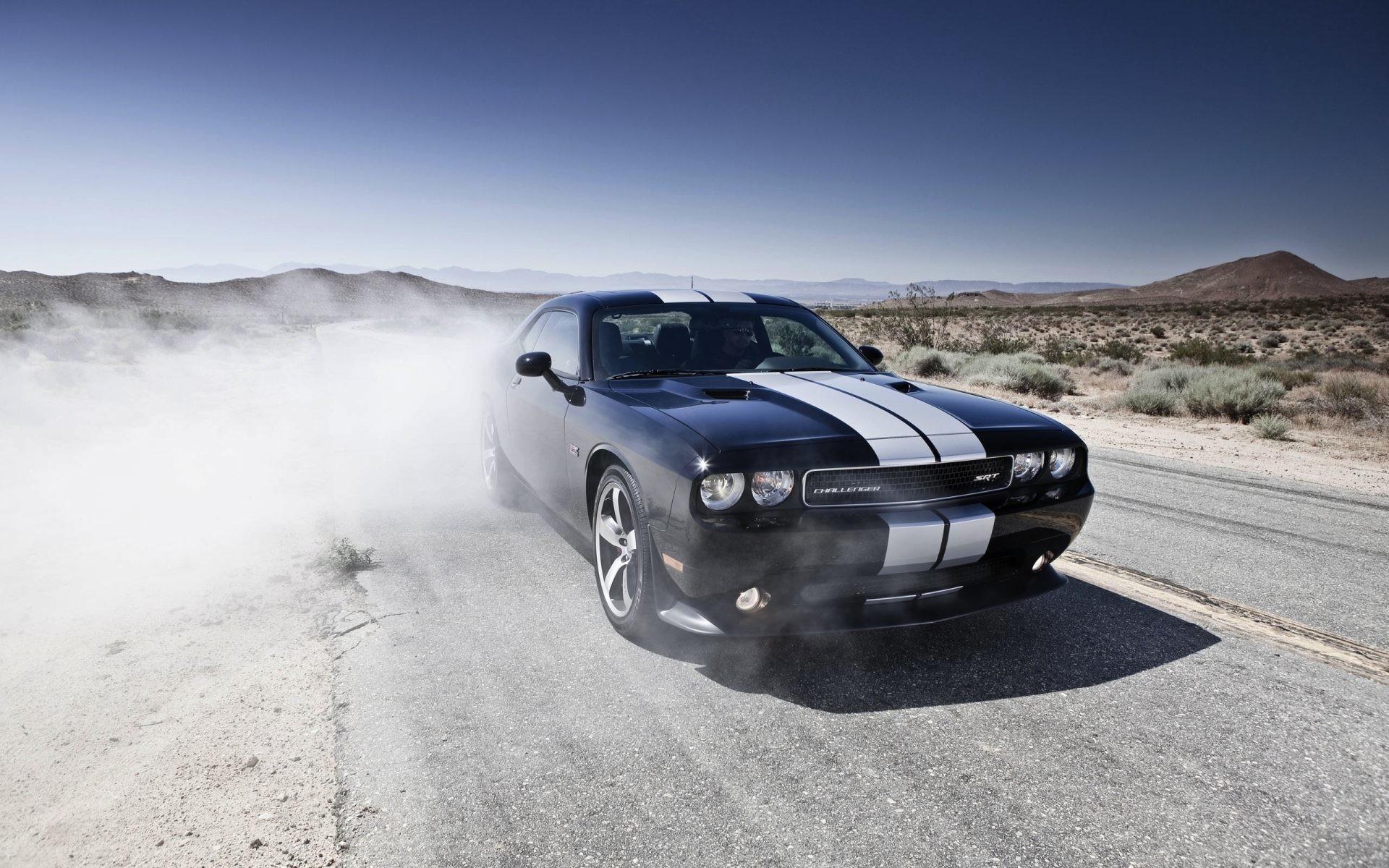 Dodge Challenger black car in the desert Full HD wallpaper