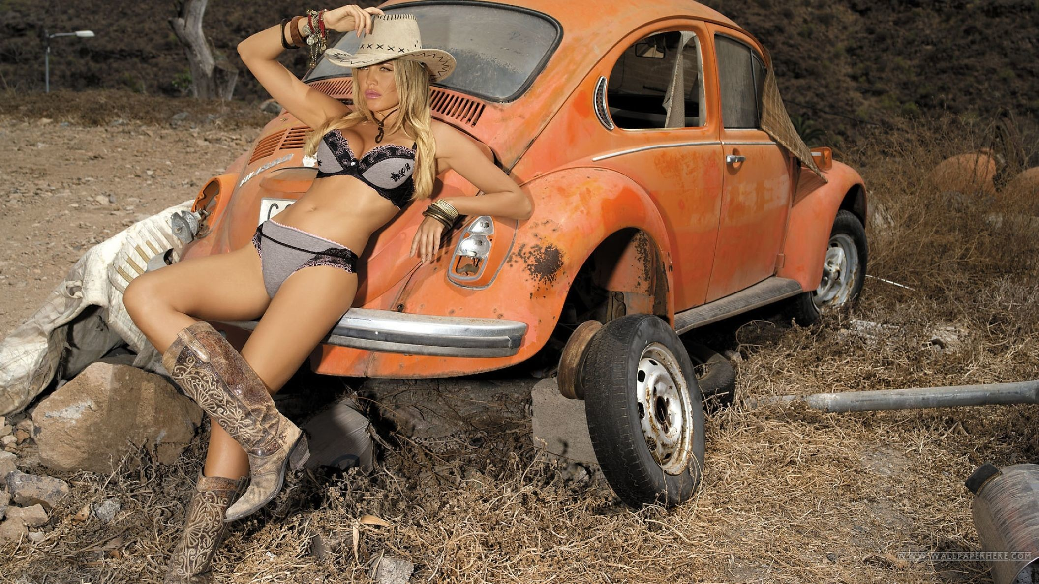 Beautiful Girl with Classic VW Beetle Wallpaper