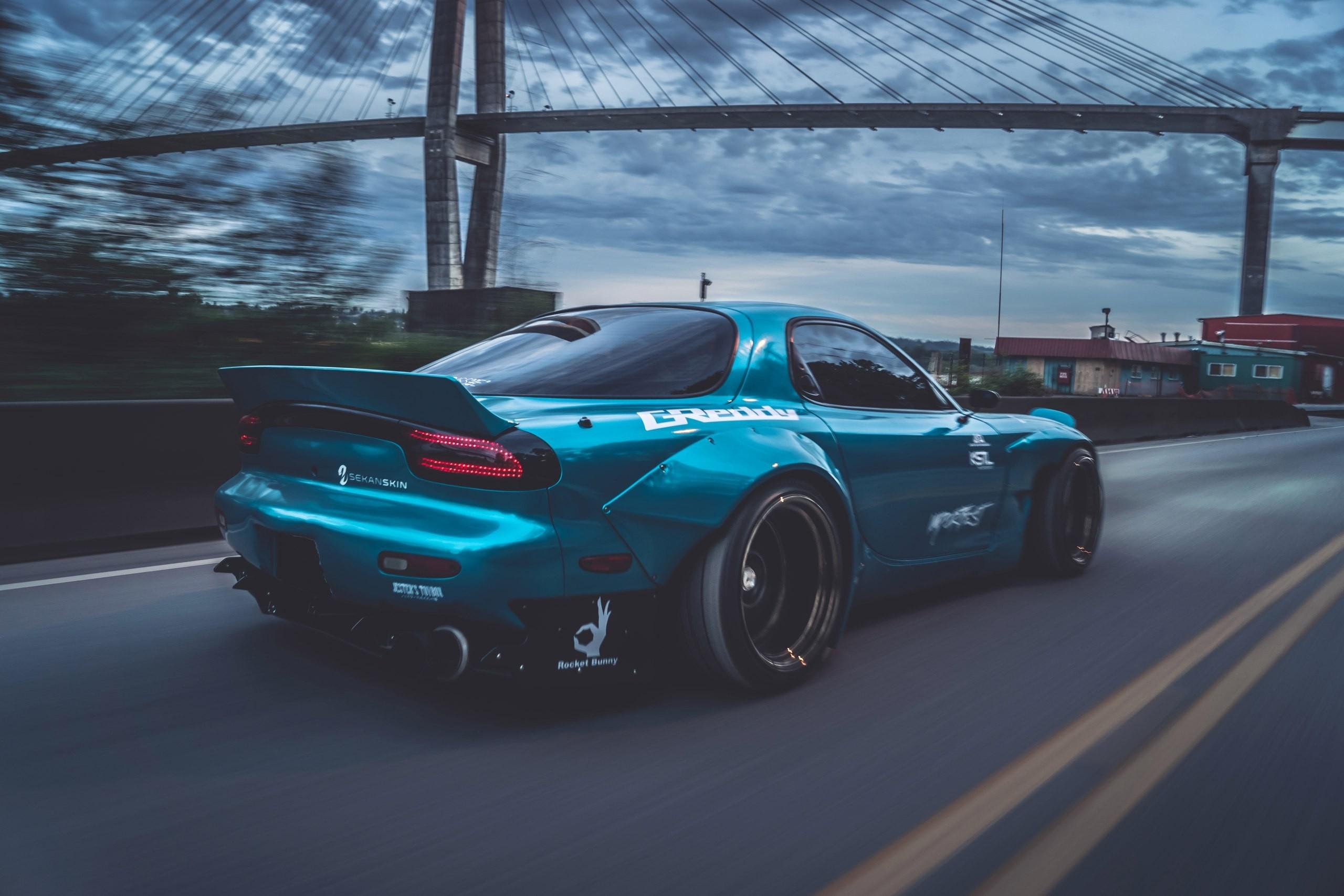 sports car Mazda RX-7 Mazda blue cars bridge Rocket Bunny