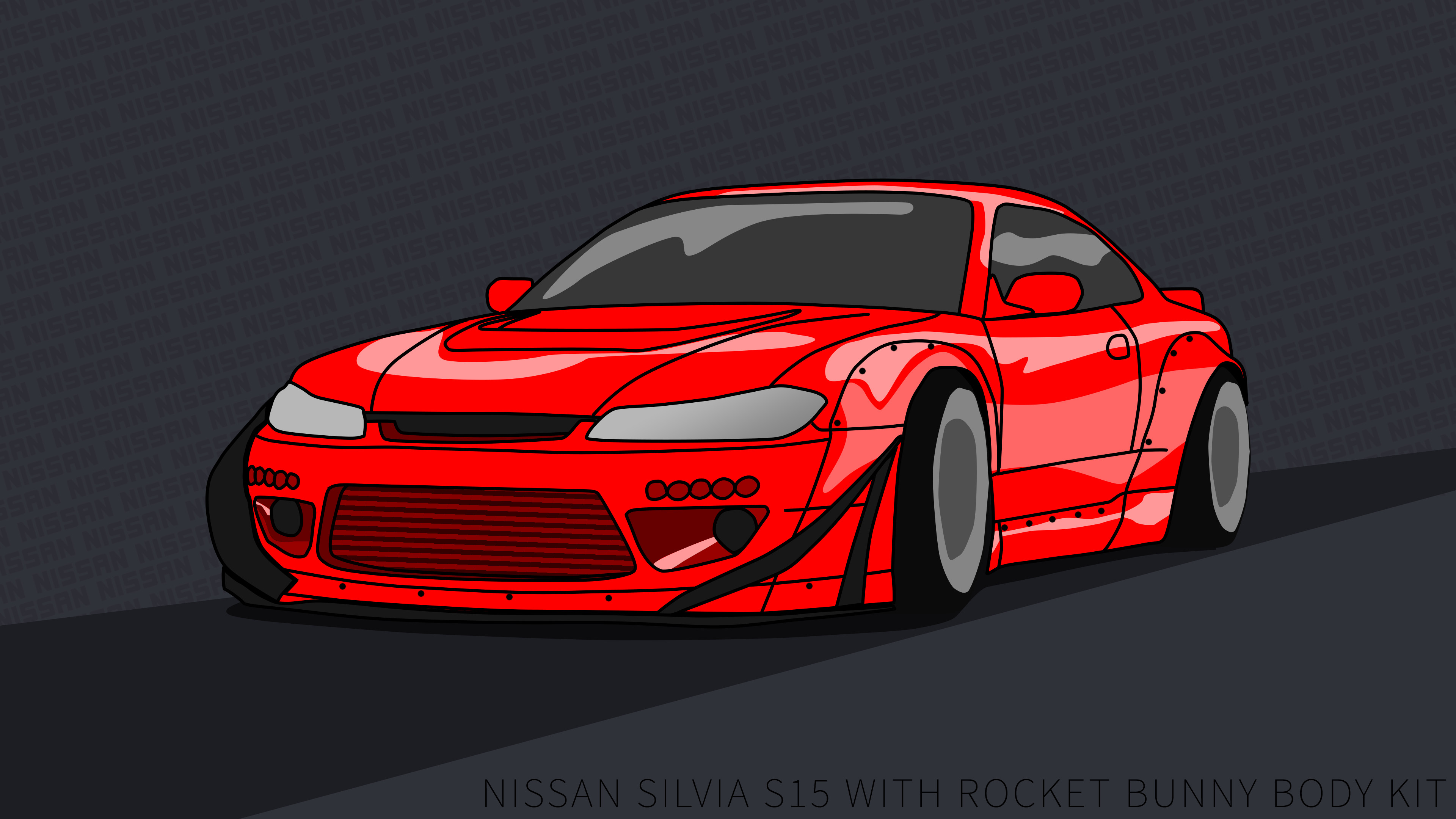 … Nissan Silvia S15 wallpaper 4k rocket bunny Red by ItsBarney01
