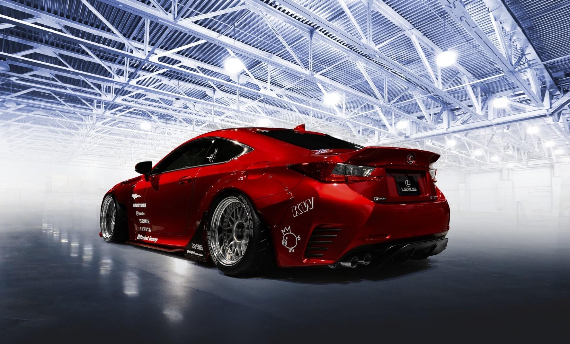 lexus rc-f tuning rocket bunny red car