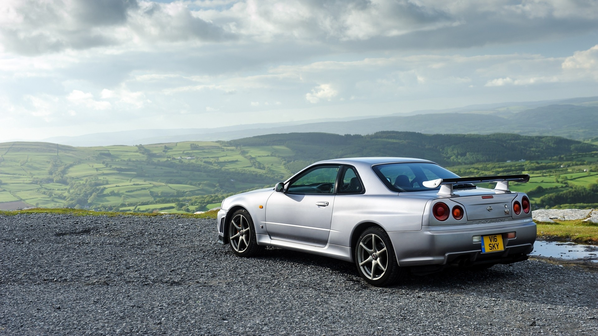 Wallpaper nissan, skyline, gt-r, silver, side view