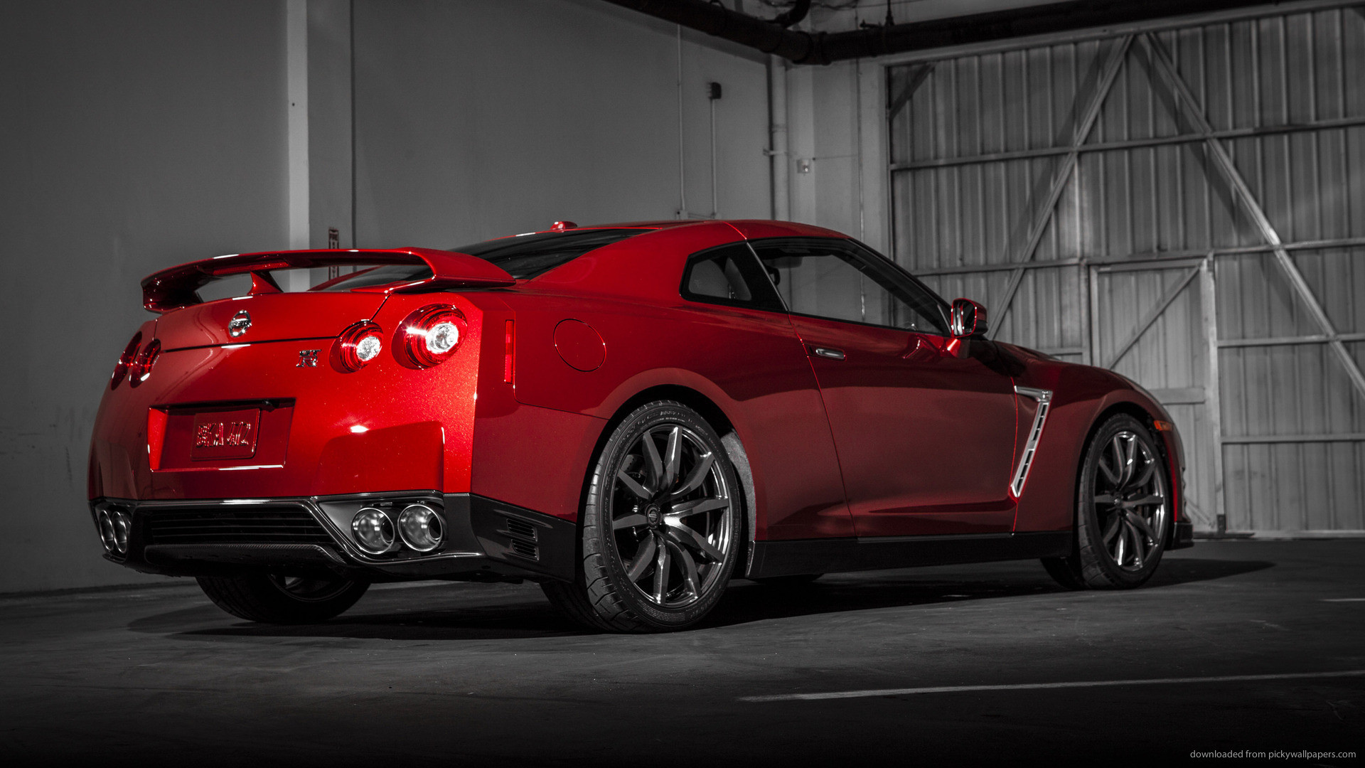 Red Nissan GT-R In The Garage Back for 1920×1080