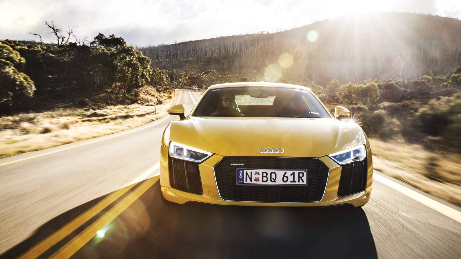 Wallpaper audi, r8, v10, yellow, front view