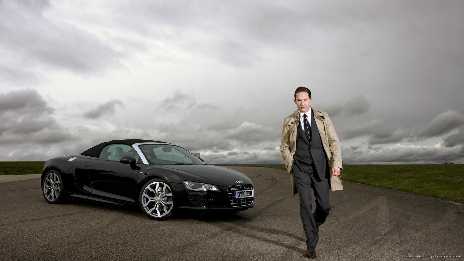 Tom Hardy And Audi R8 for 1920×1080