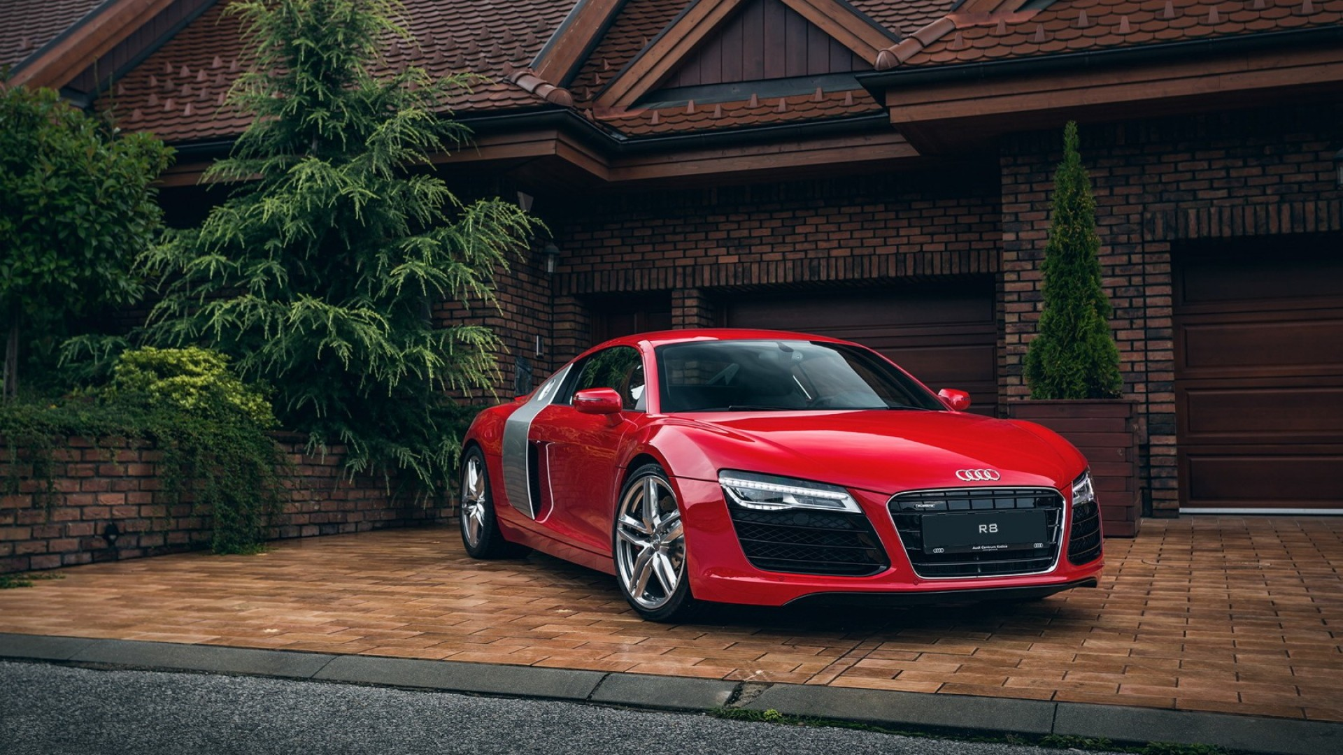 Wallpaper audi, r8, red, front view