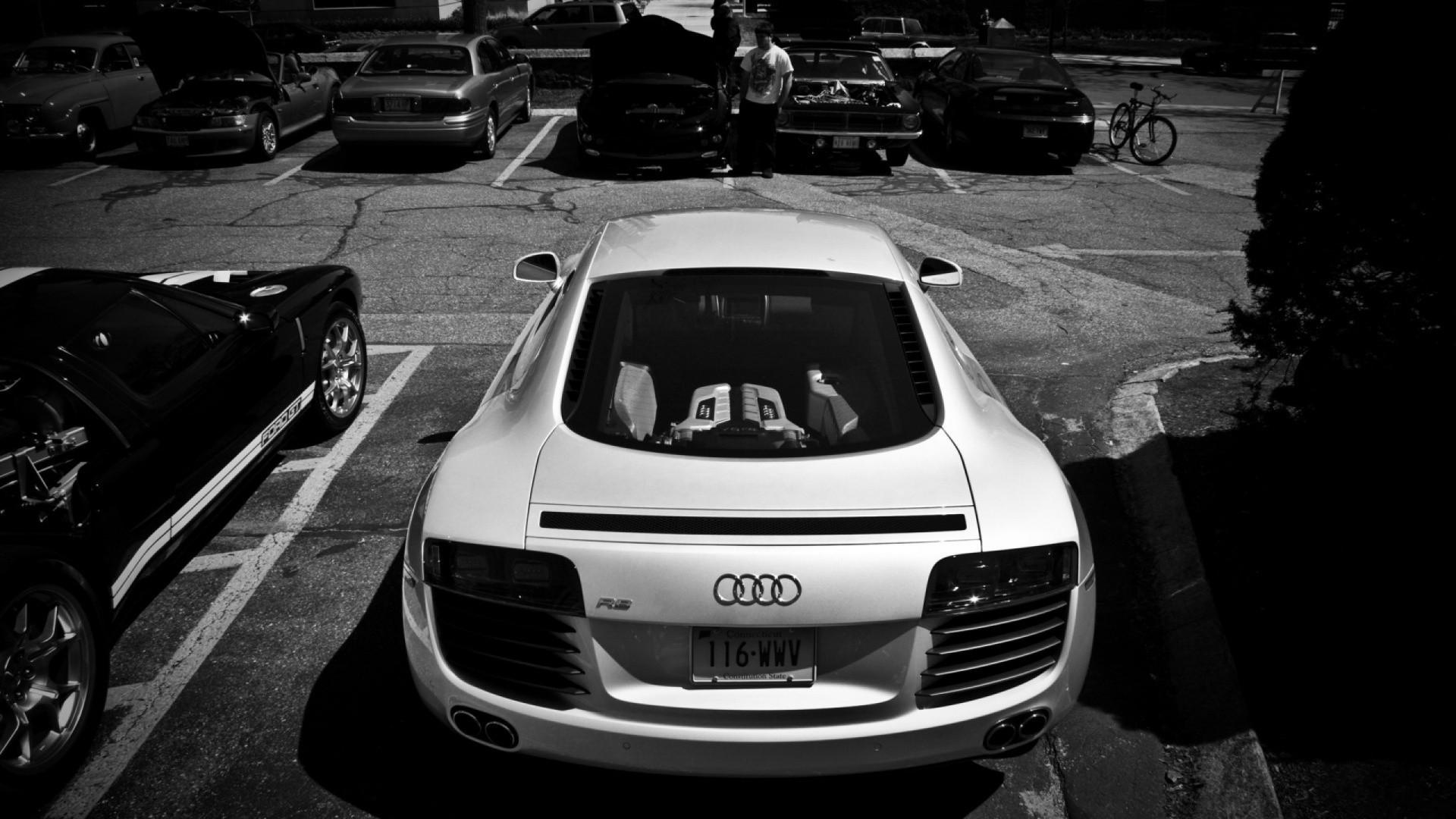 White Audi R8 Rear Monochrome