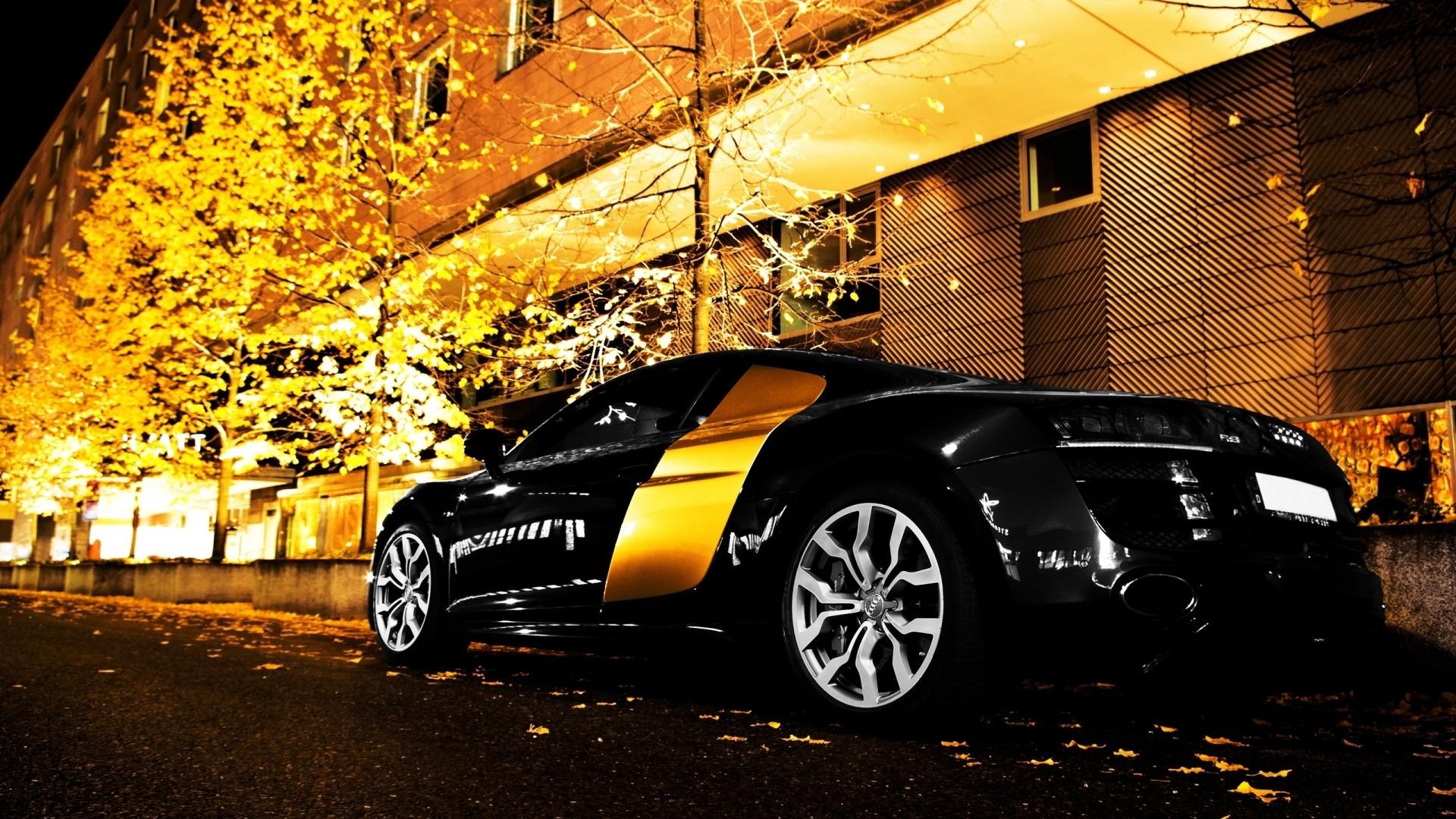 Gorgeous Audi R8 Black at Night Resolution