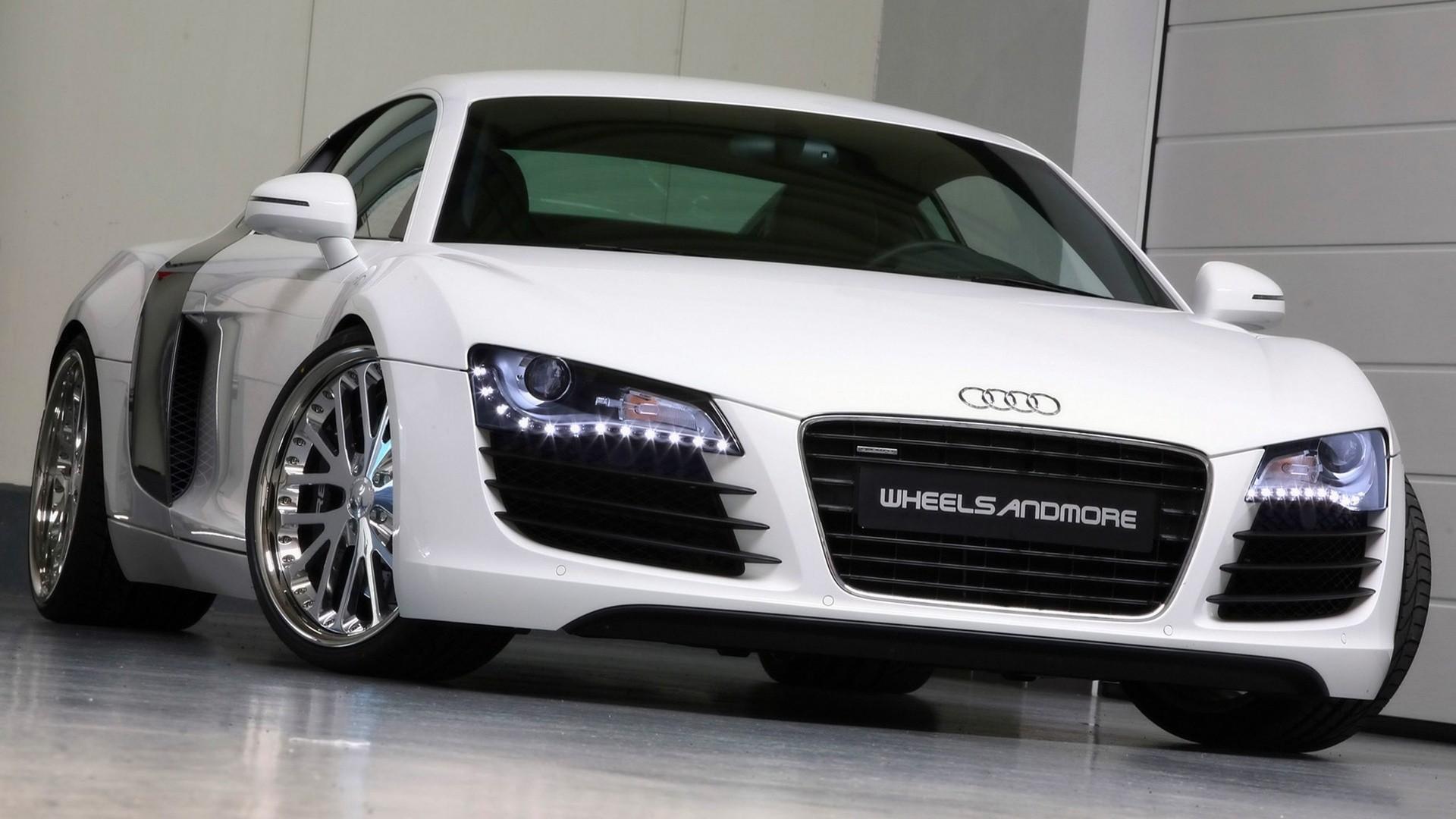 White Audi R8 in Showroom
