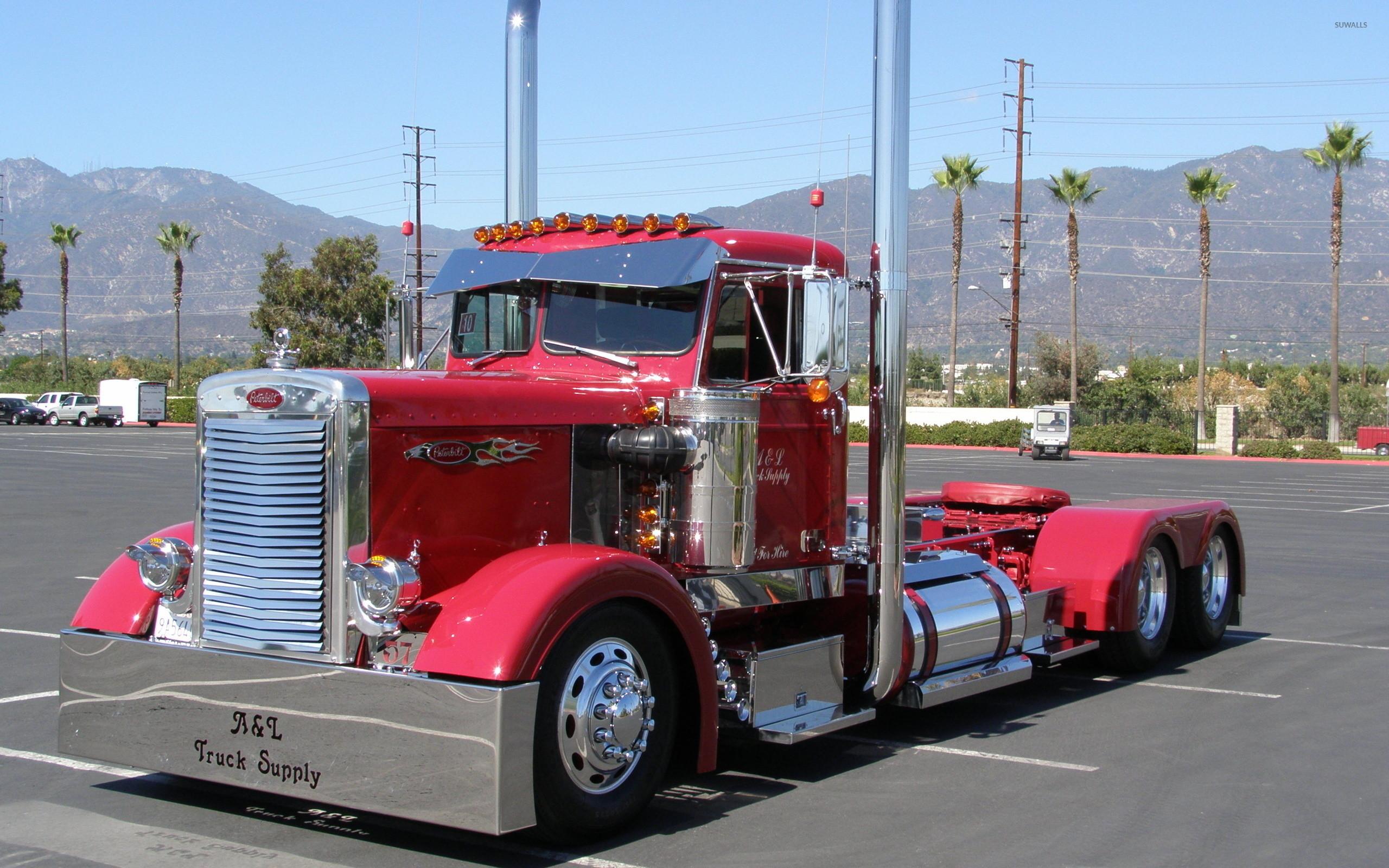 Red Peterbilt truck wallpaper jpg