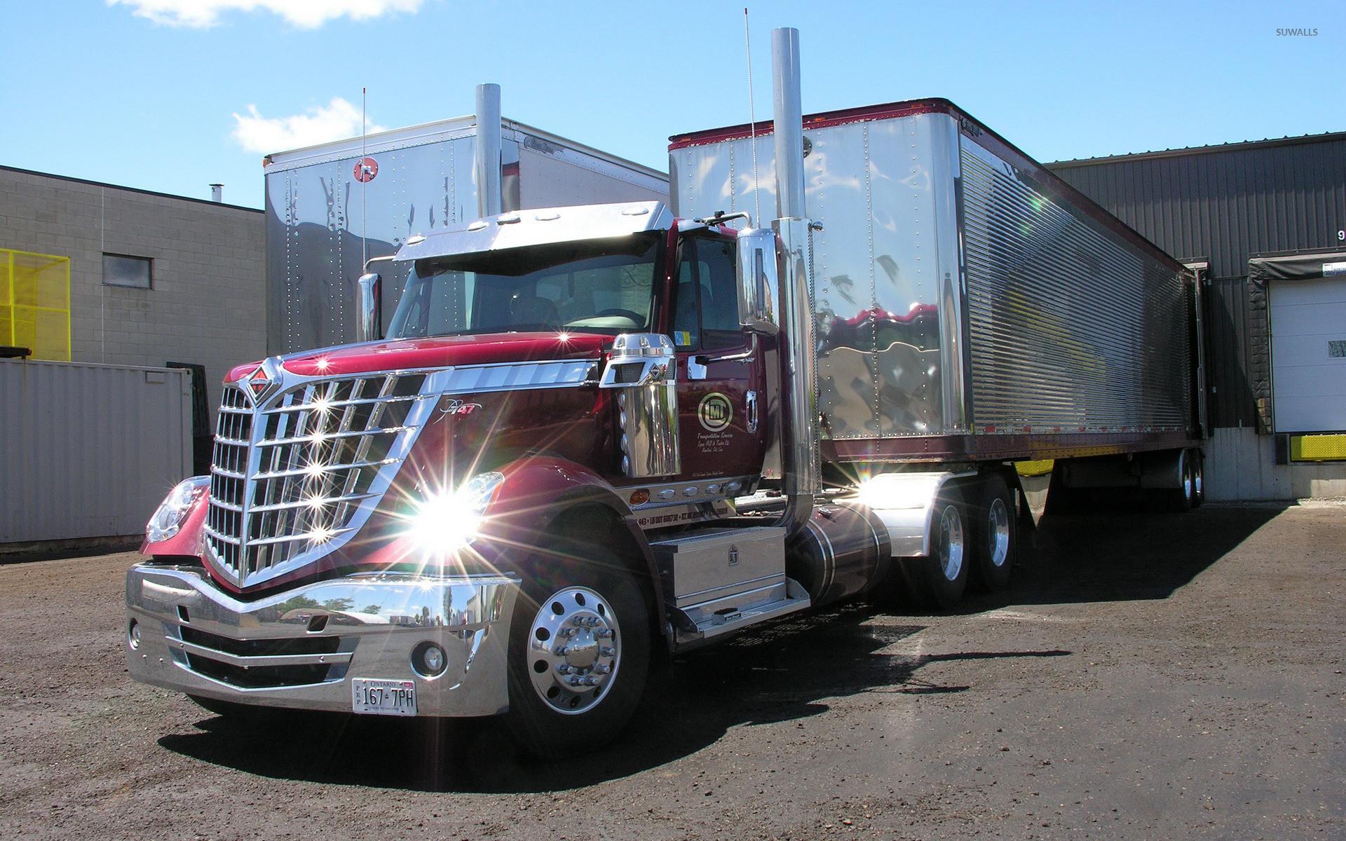 Red Navistar International truck wallpaper jpg