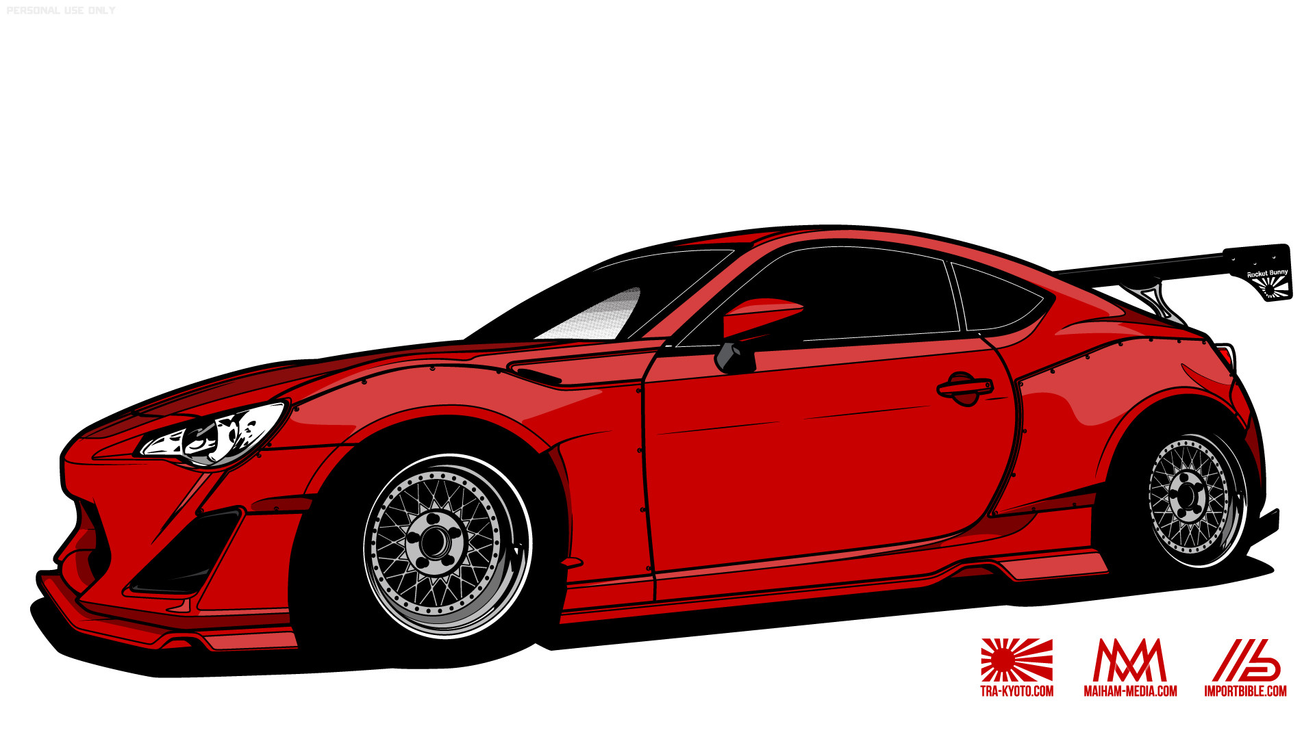 … media group Maiham Media and Japanese shop TRA Kyoto to create  high-resolution wallpapers of the popular wide body Rocket Bunny kit for  the Scion FR-S.