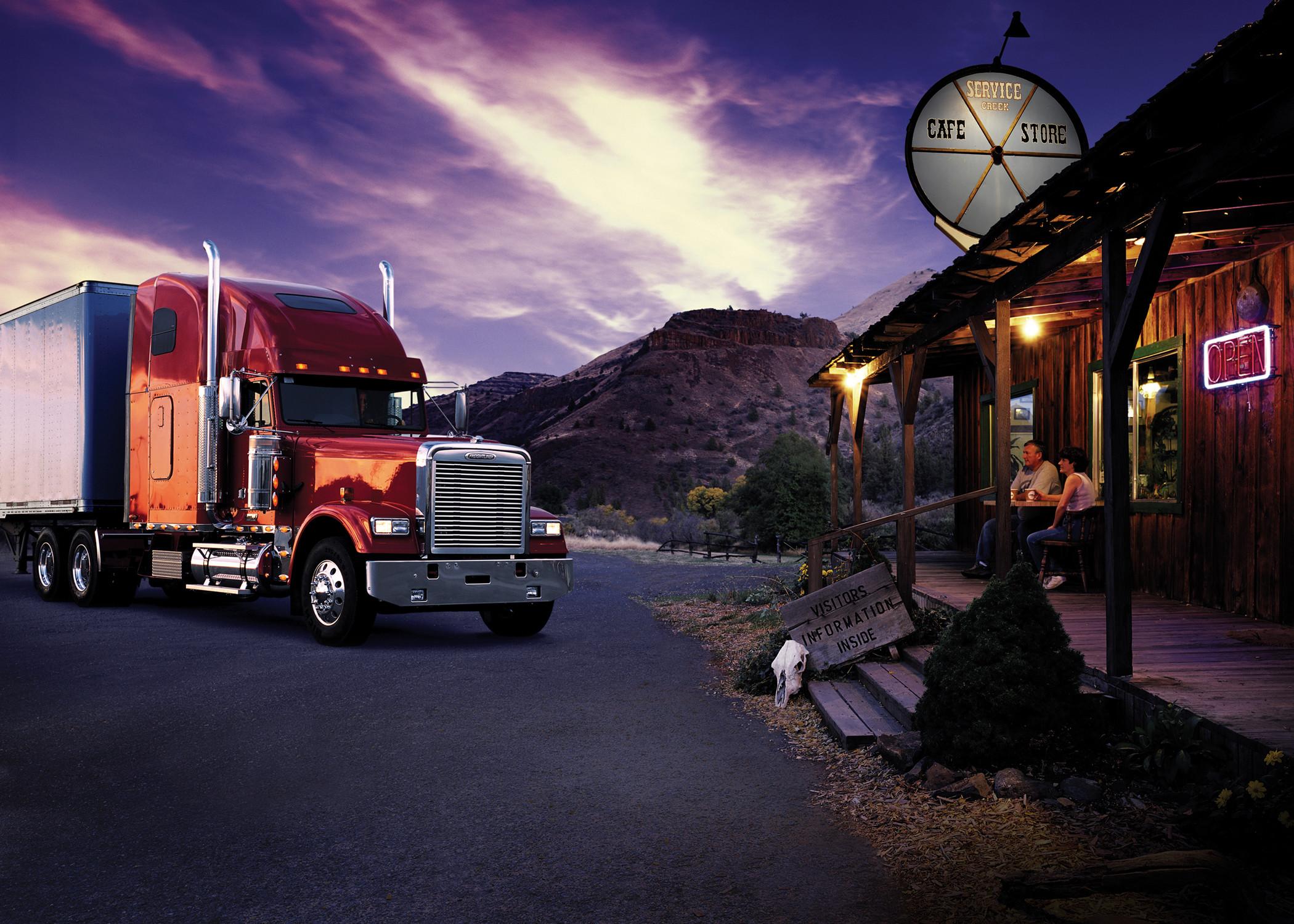 freightliner semi tractor trucks wallpaper background