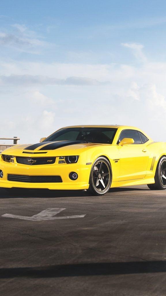 Chevrolet Camaro RS yellow car iPhone 6 Plus wallpaper – 1080×1920