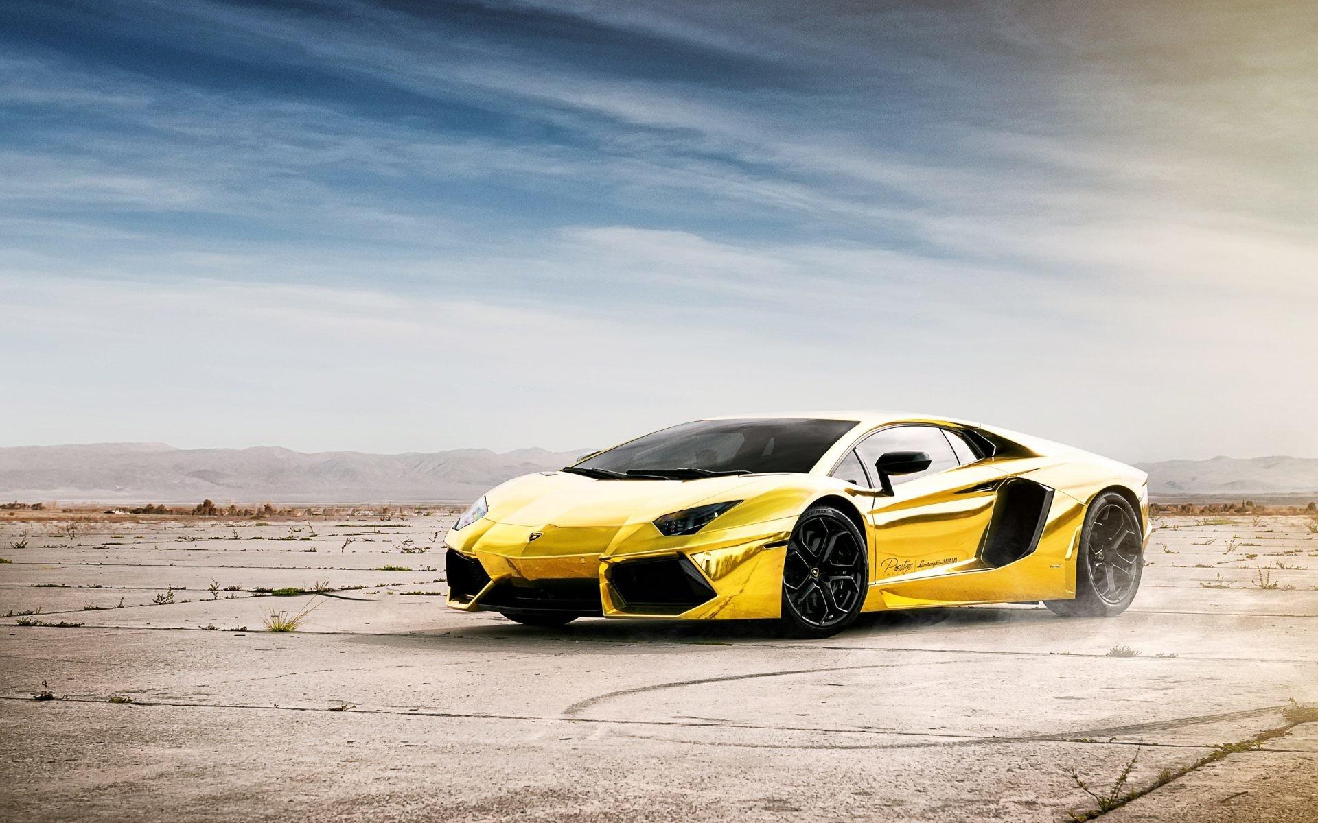 Lamborghini Aventador LP700-4 gold color 4k Wallpaper