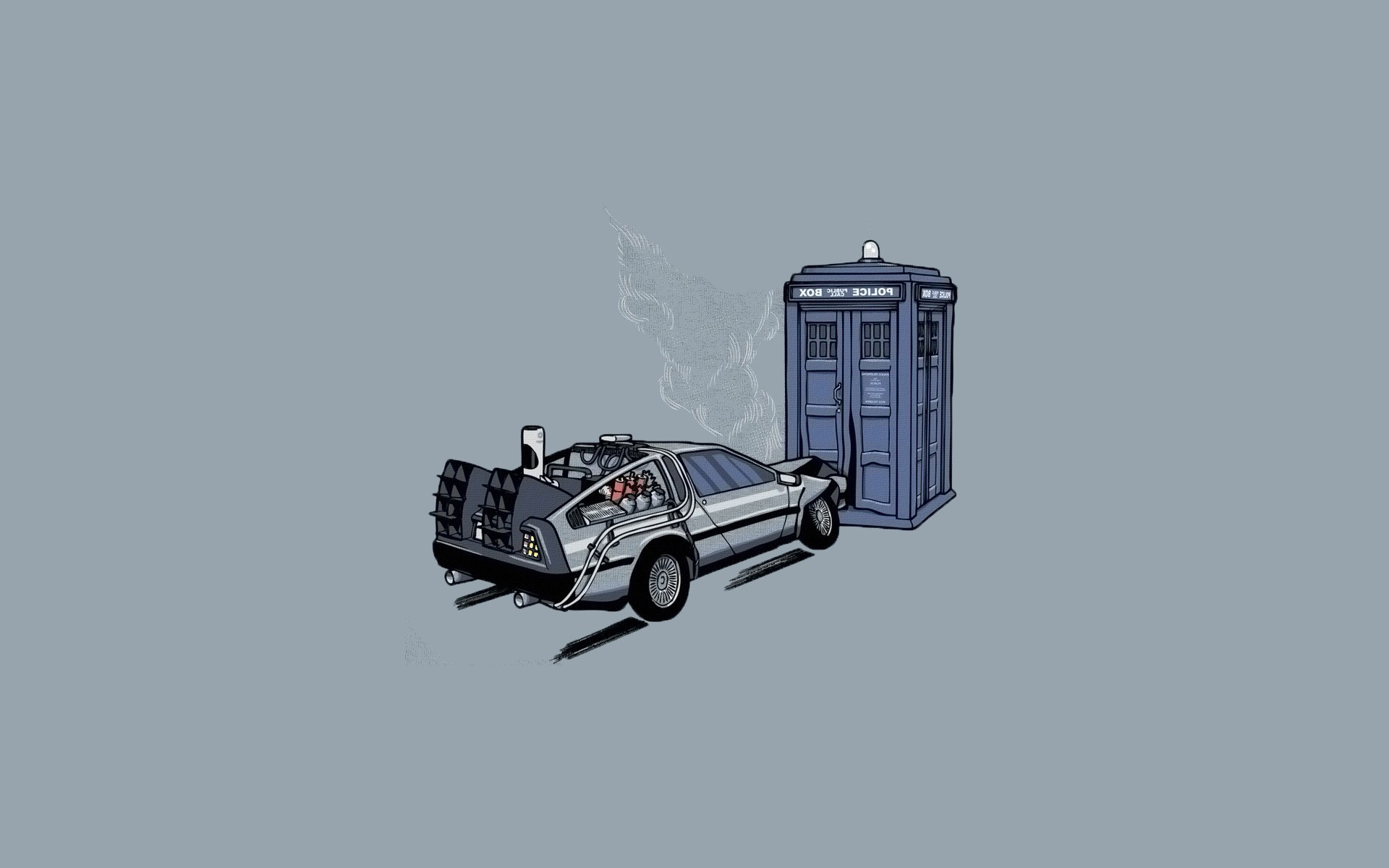 crash, Lightning, Storm, Vintage, TARDIS, DeLorean, Doctor Who, Back To The  Future, Simple Background, Minimalism, Crossover Wallpapers HD / Desktop  and …