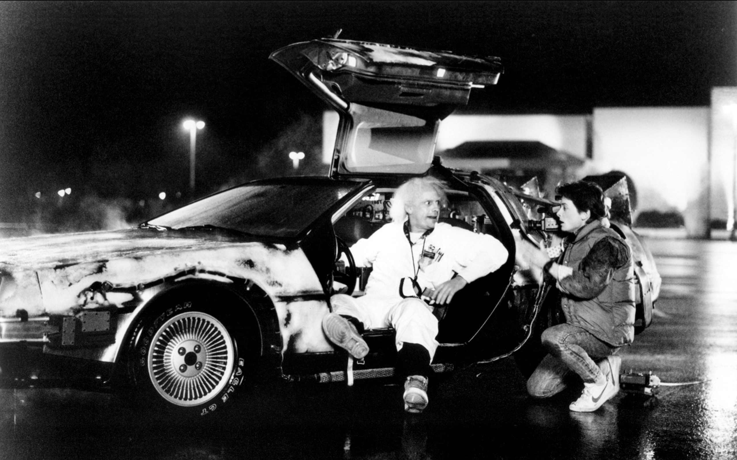 movies back to the future grayscale doc brown michael j fox marty mcfly  delorean dmc12 christopher