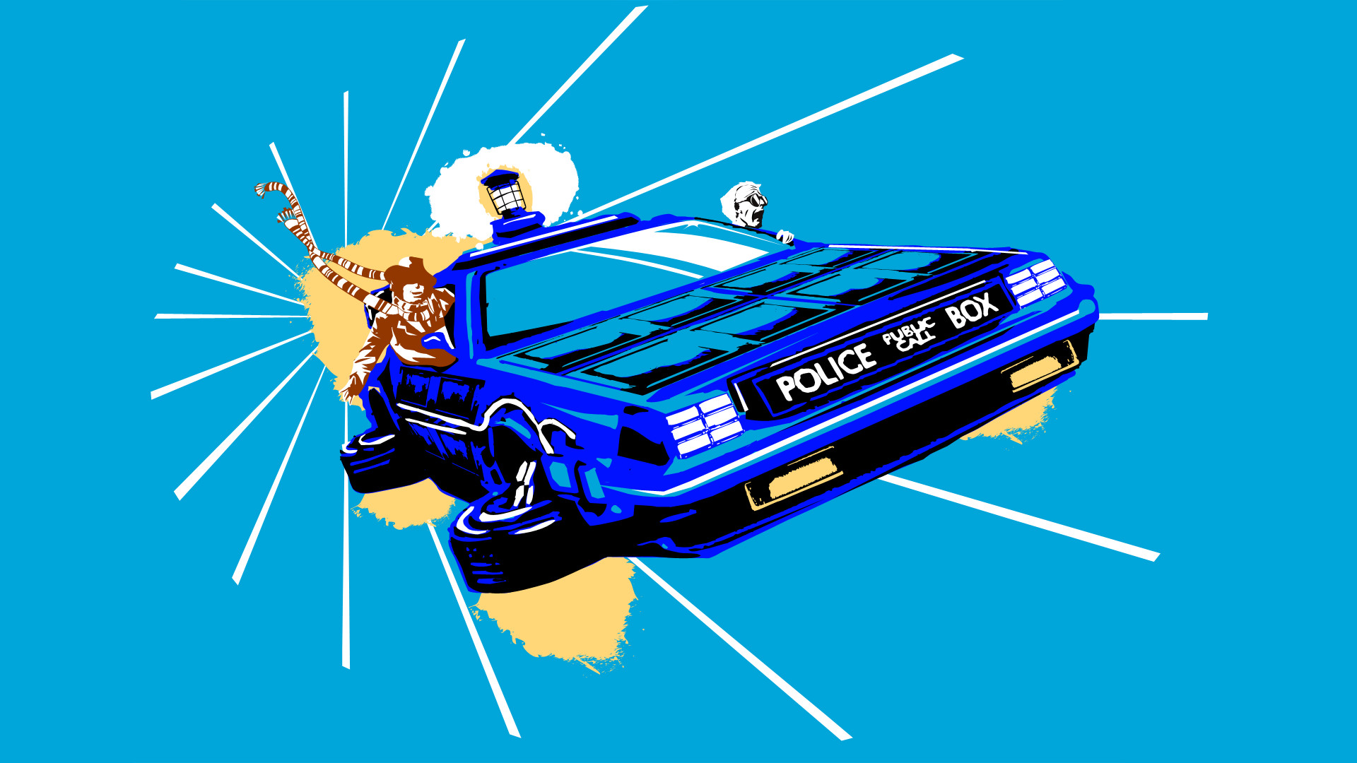 General Doctor Who Back to the Future TARDIS DeLorean artwork  science fiction TV The Doctor