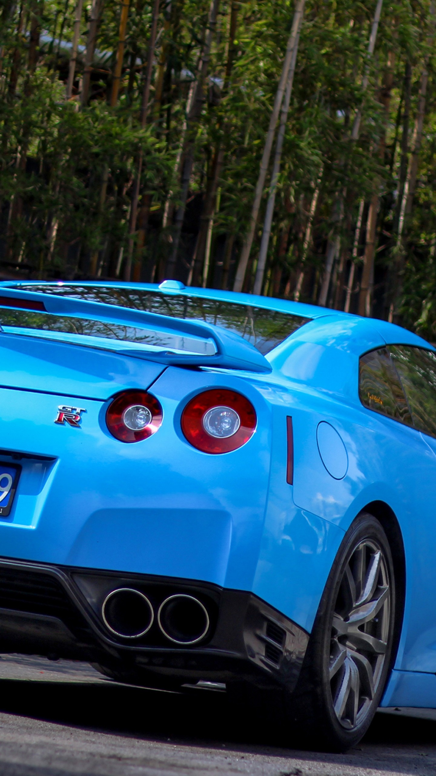 Preview wallpaper nissan, gtr, r35, bumper, blue, rear view 1440×2560