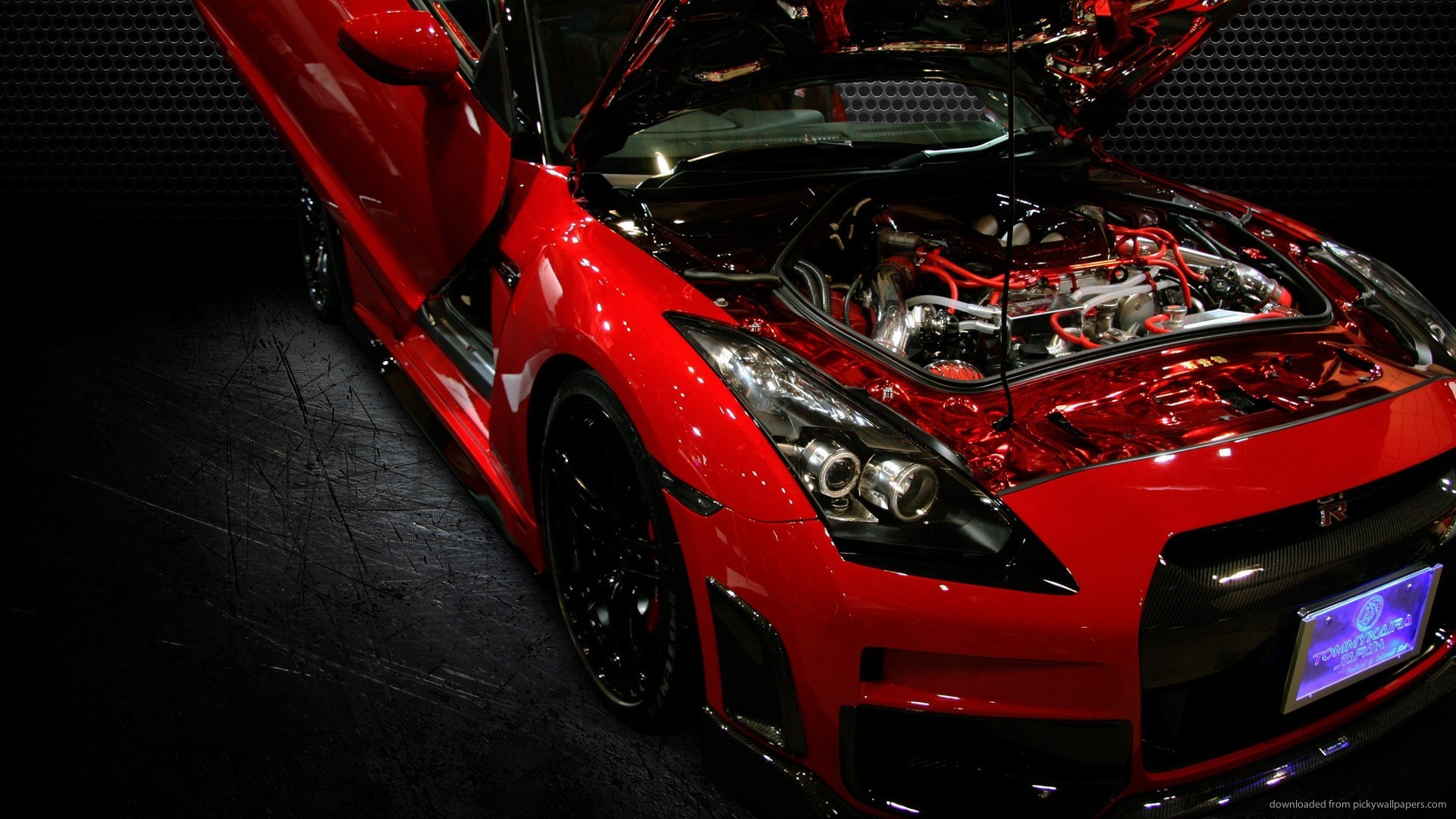 Red Nissan GT-R Bonnet Up picture