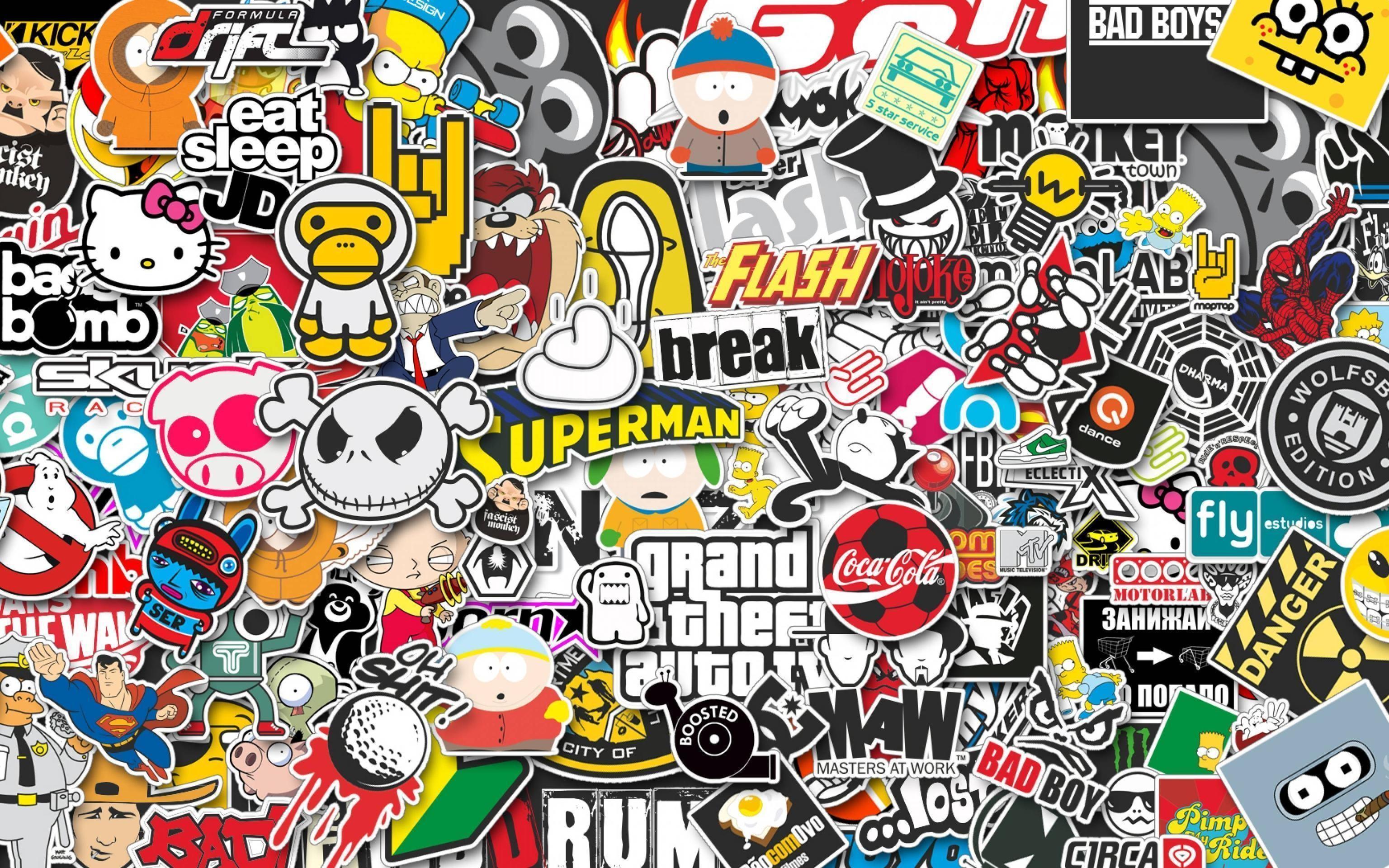 Download Wallpaper 3840×2400 stickers, style, jdm Ultra HD 4K HD .
