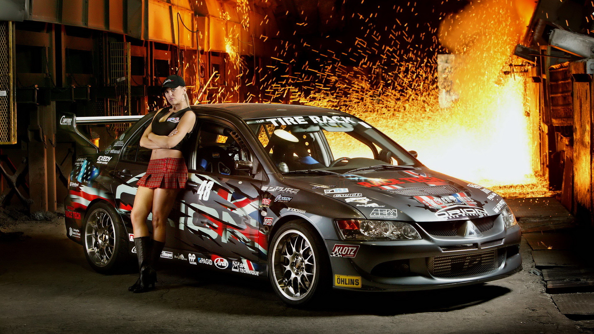 Mitsubishi Lancer And Girl HD Wallpaper