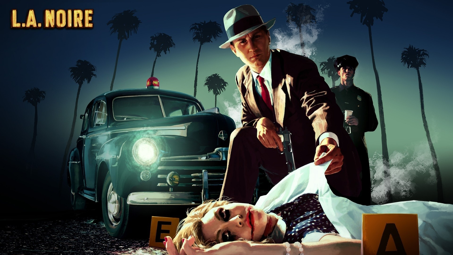 Wallpaper la noire, male, murder, girl, car, palms, police
