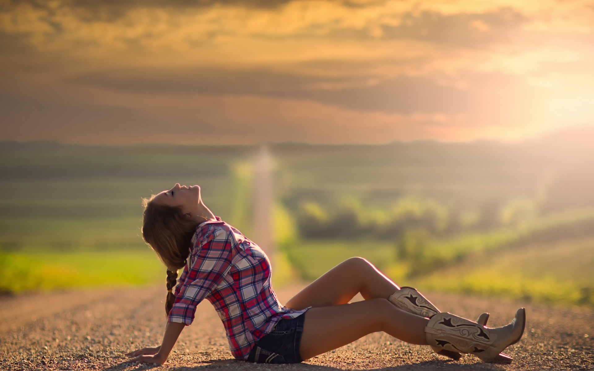 Country girl on the road wide wallpapers.