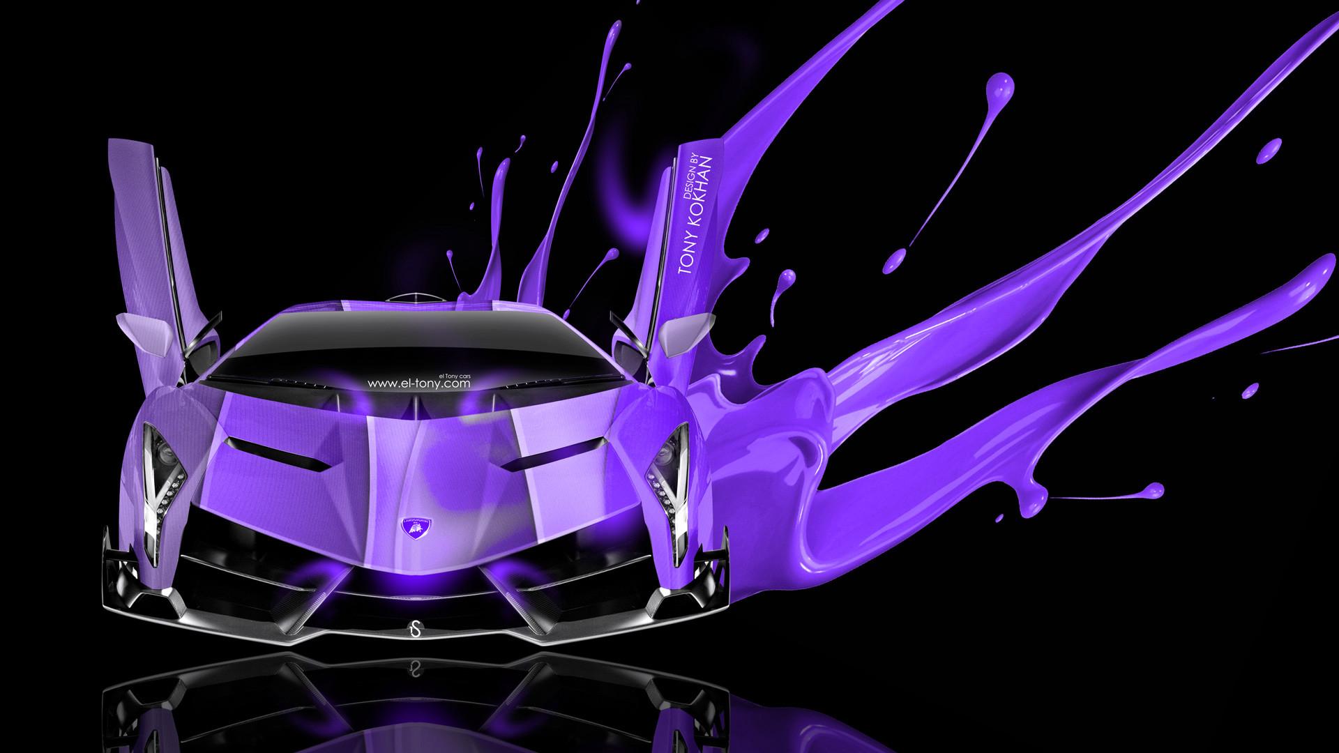 Lamborghini Veneno Open Doors Art Live Violet Colors