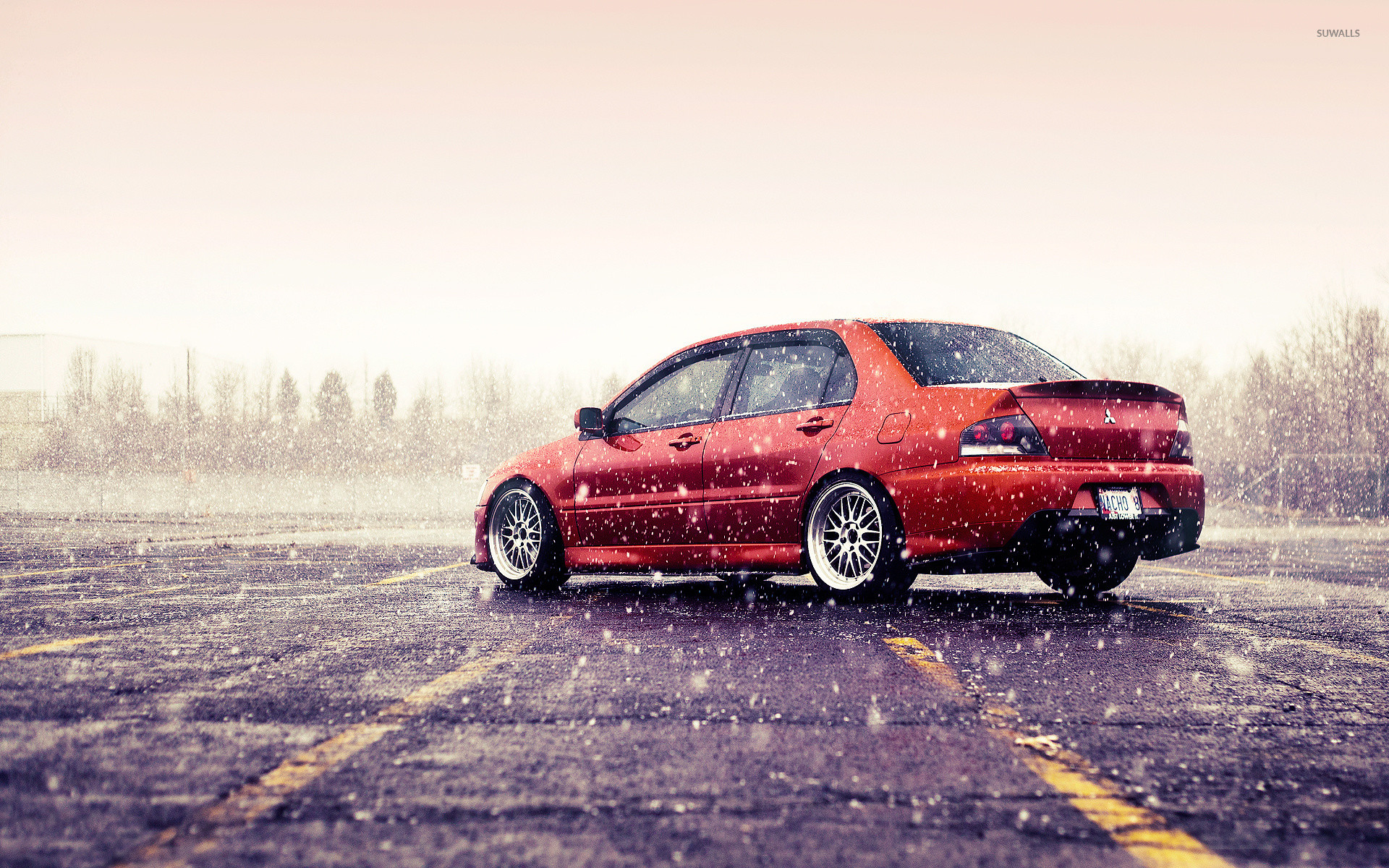 Mitsubishi Lancer Evolution On A Rainy Day Wallpaper Jpg