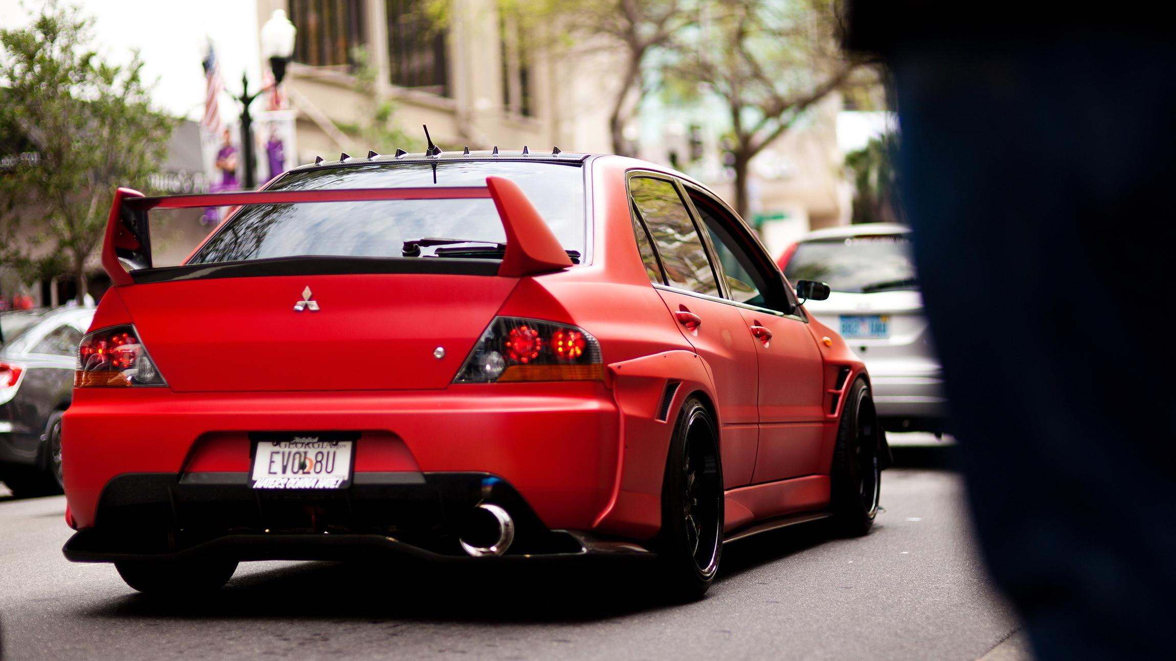 Mitsubishi, matte, red, tuning, evo