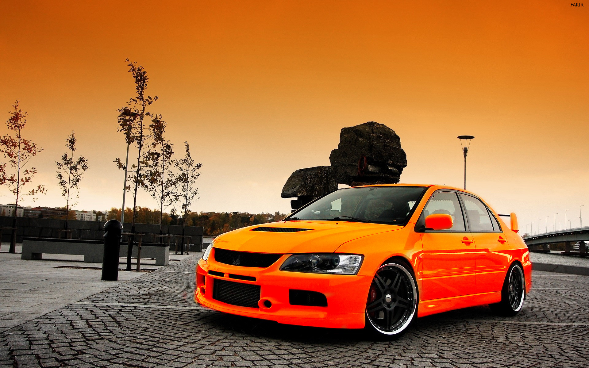 Wallpapers Mitsubishi Lancer Evolution Orange Cars Pavement auto  automobile