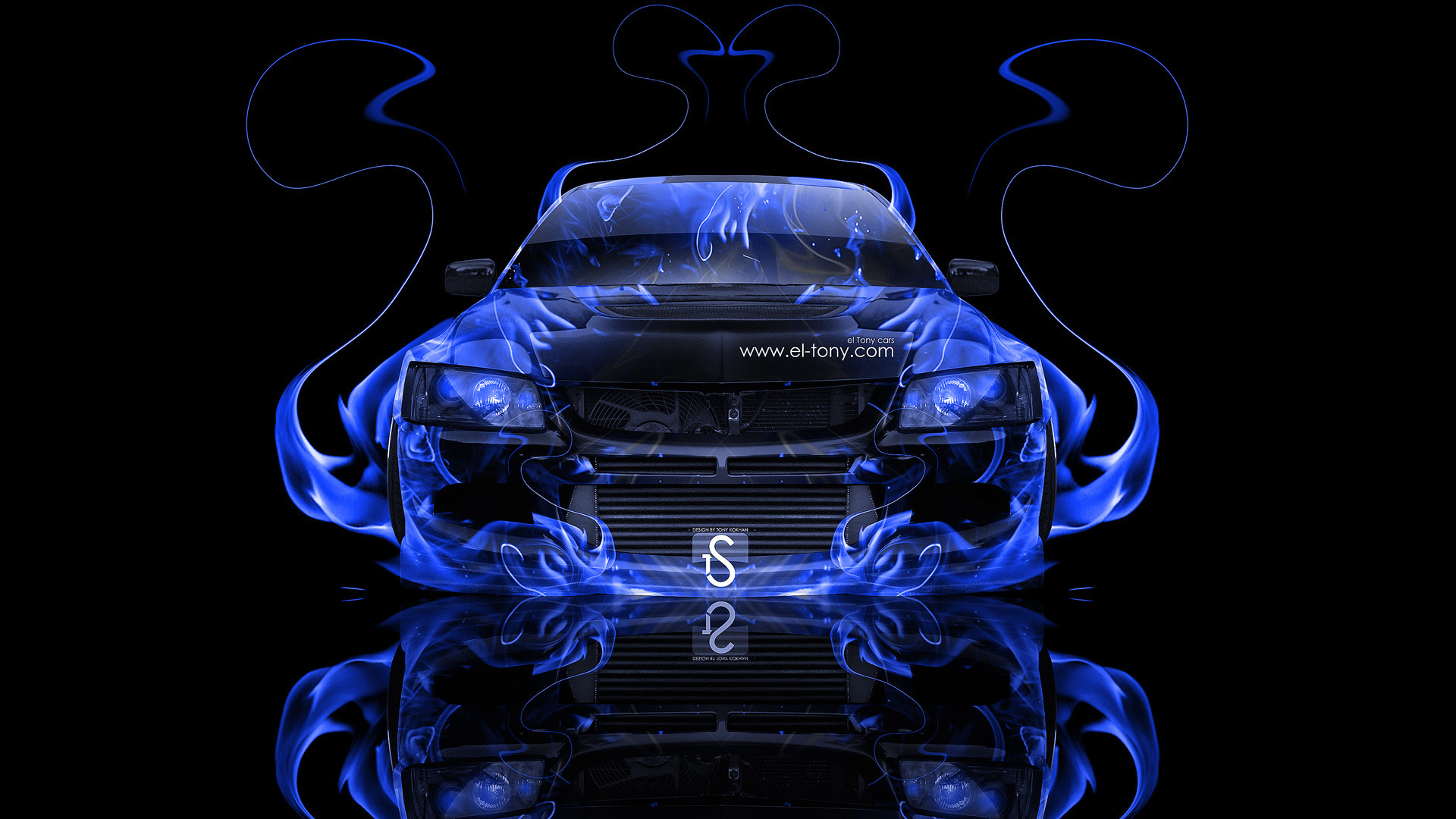 Mitsubishi Lancer Evolution 8 Jdm Blue Fire Abstract