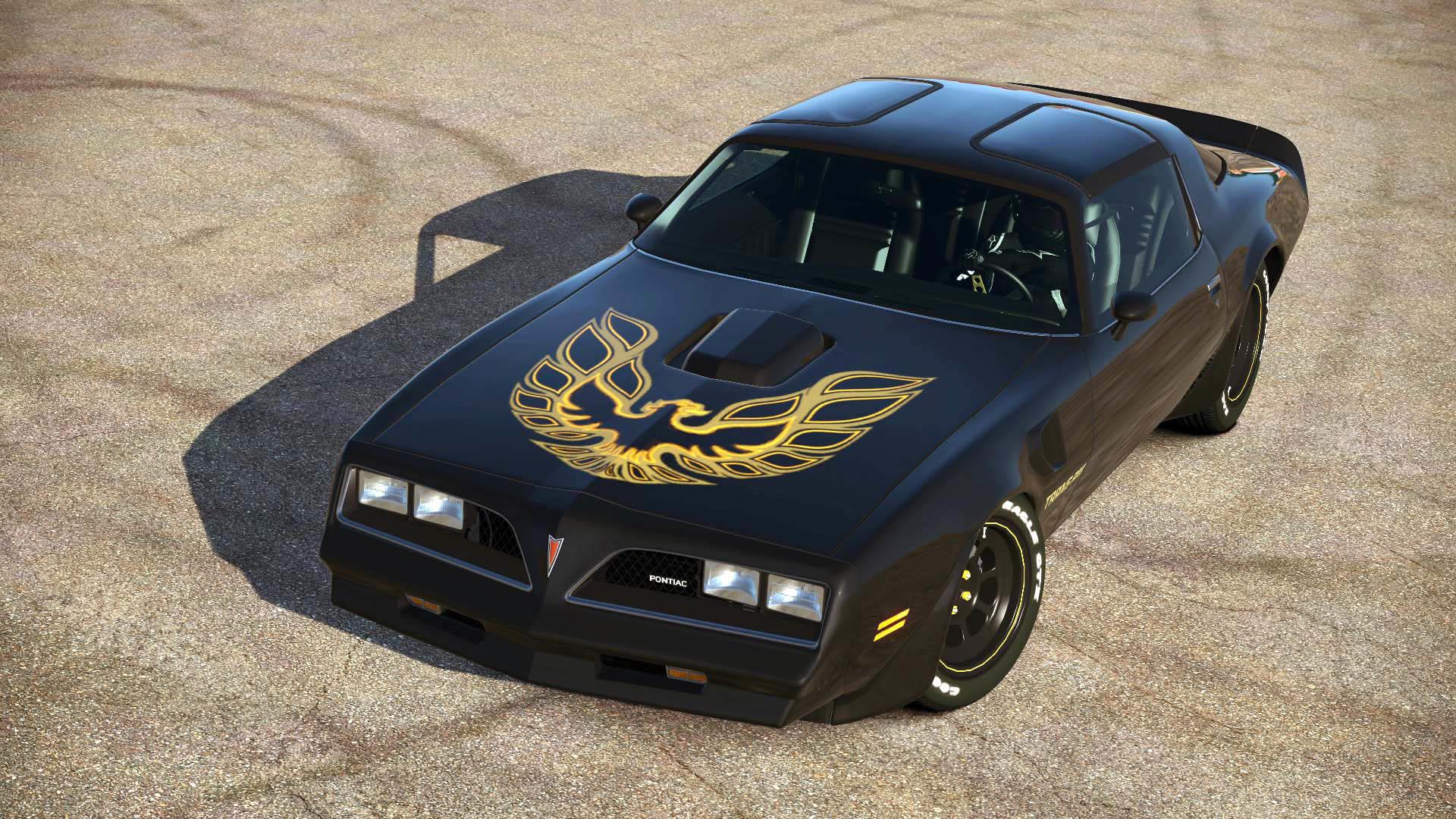 Black Pontiac Firebird Trans Am with Logo on The Hood wallpaper