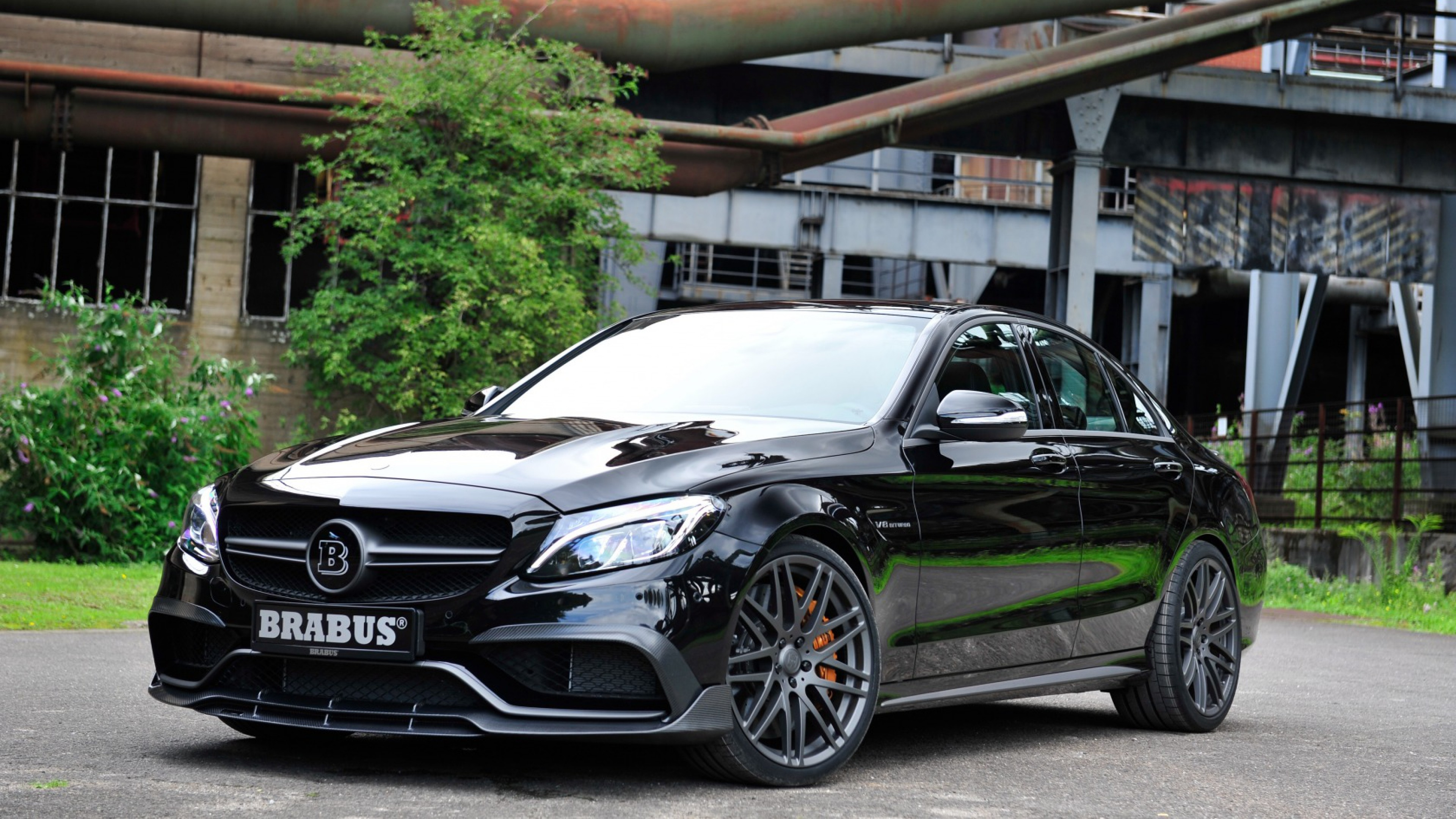 Preview wallpaper brabus, mercedes, amg, black, side view 3840×2160