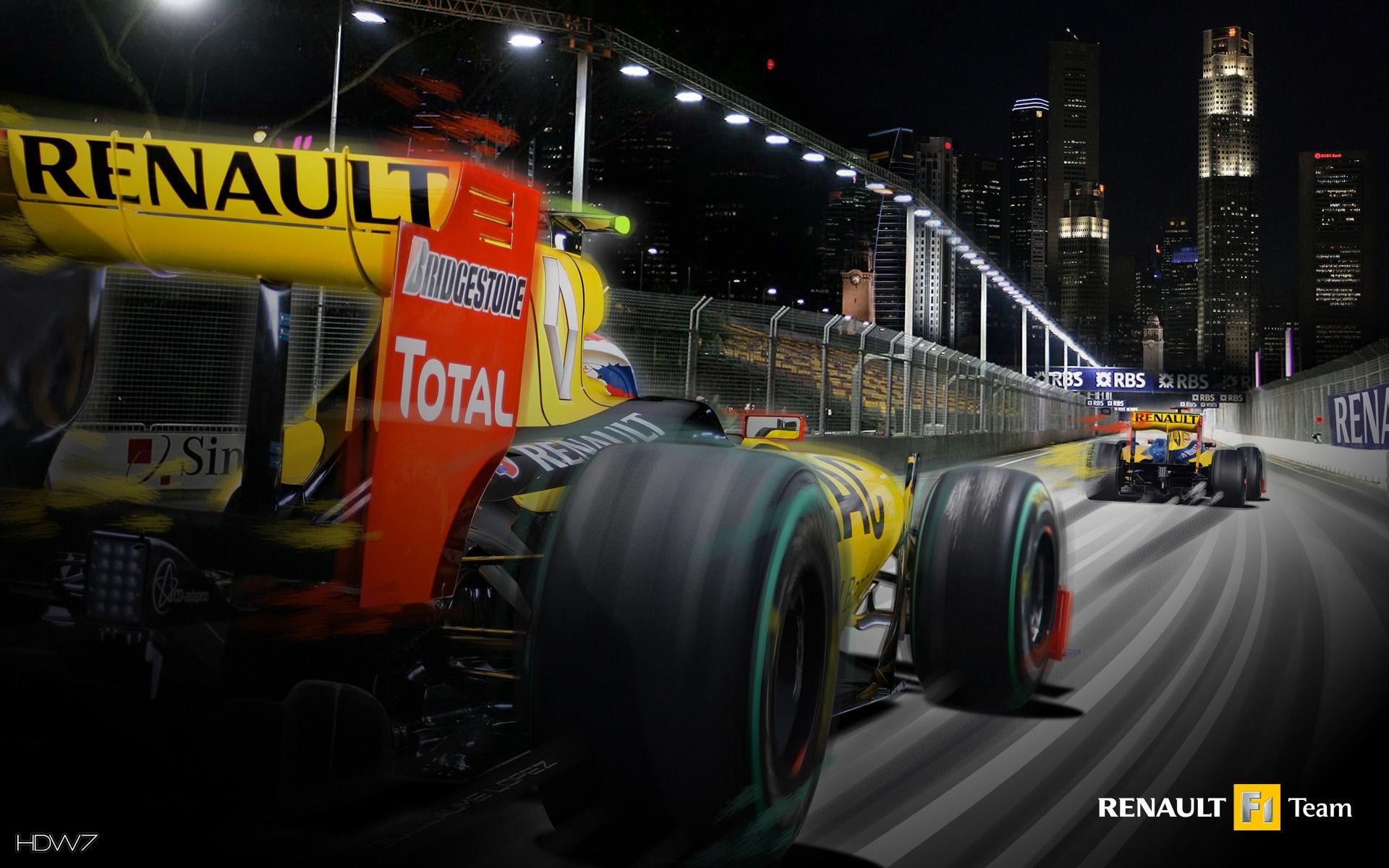 renault formula 1 cars in singapore wallpaper