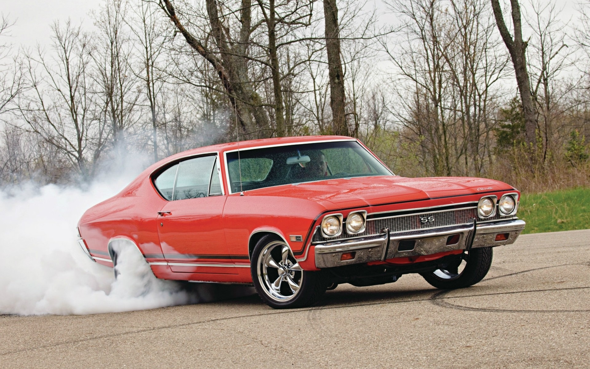 Chevrolet Chevelle SS 1968 burnout roads muscle cars hot rod smoke wallpaper  | | 32311 | WallpaperUP