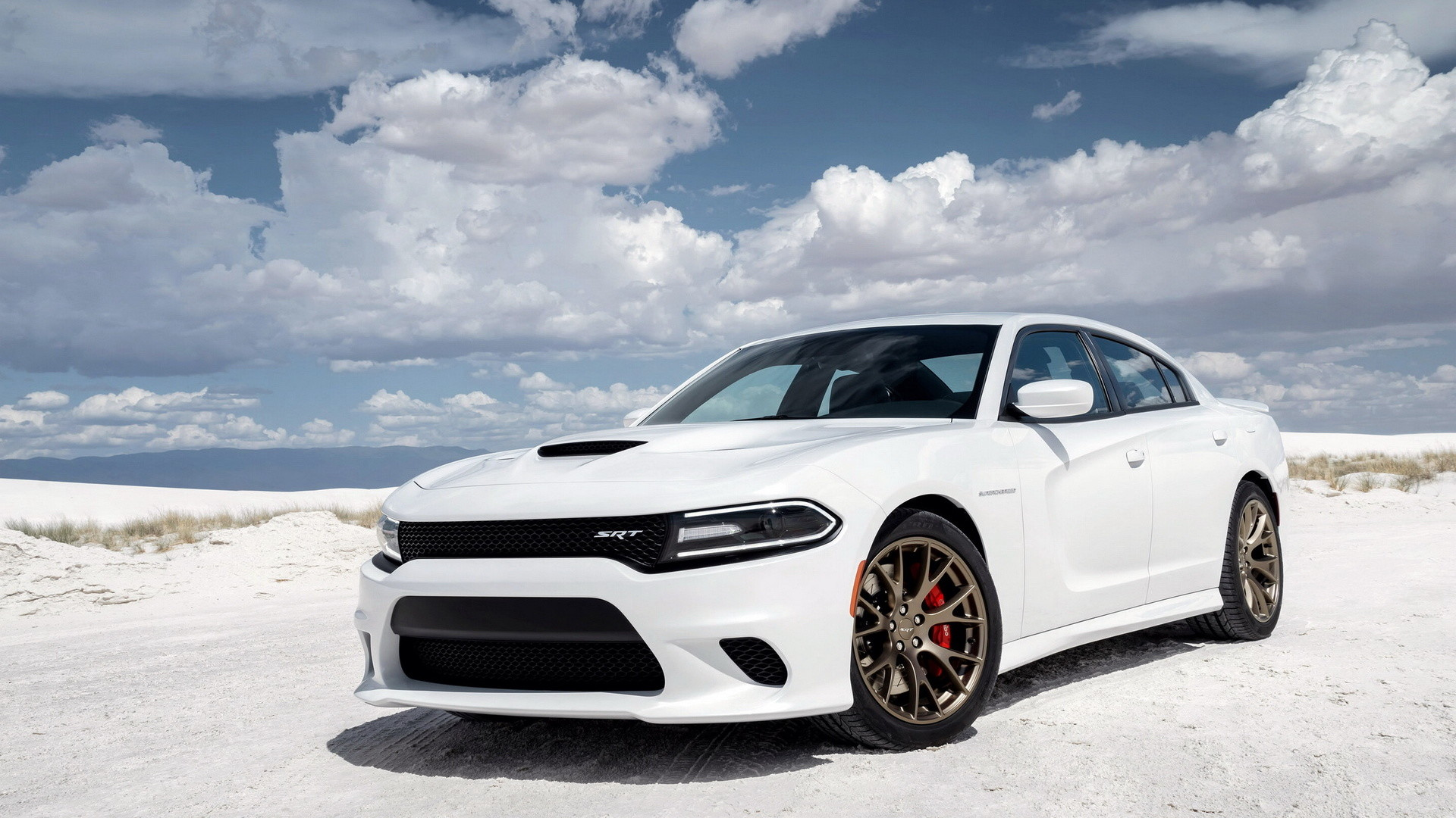 Dodge Charger SRT Hellcat in the desert under the beautiful sky