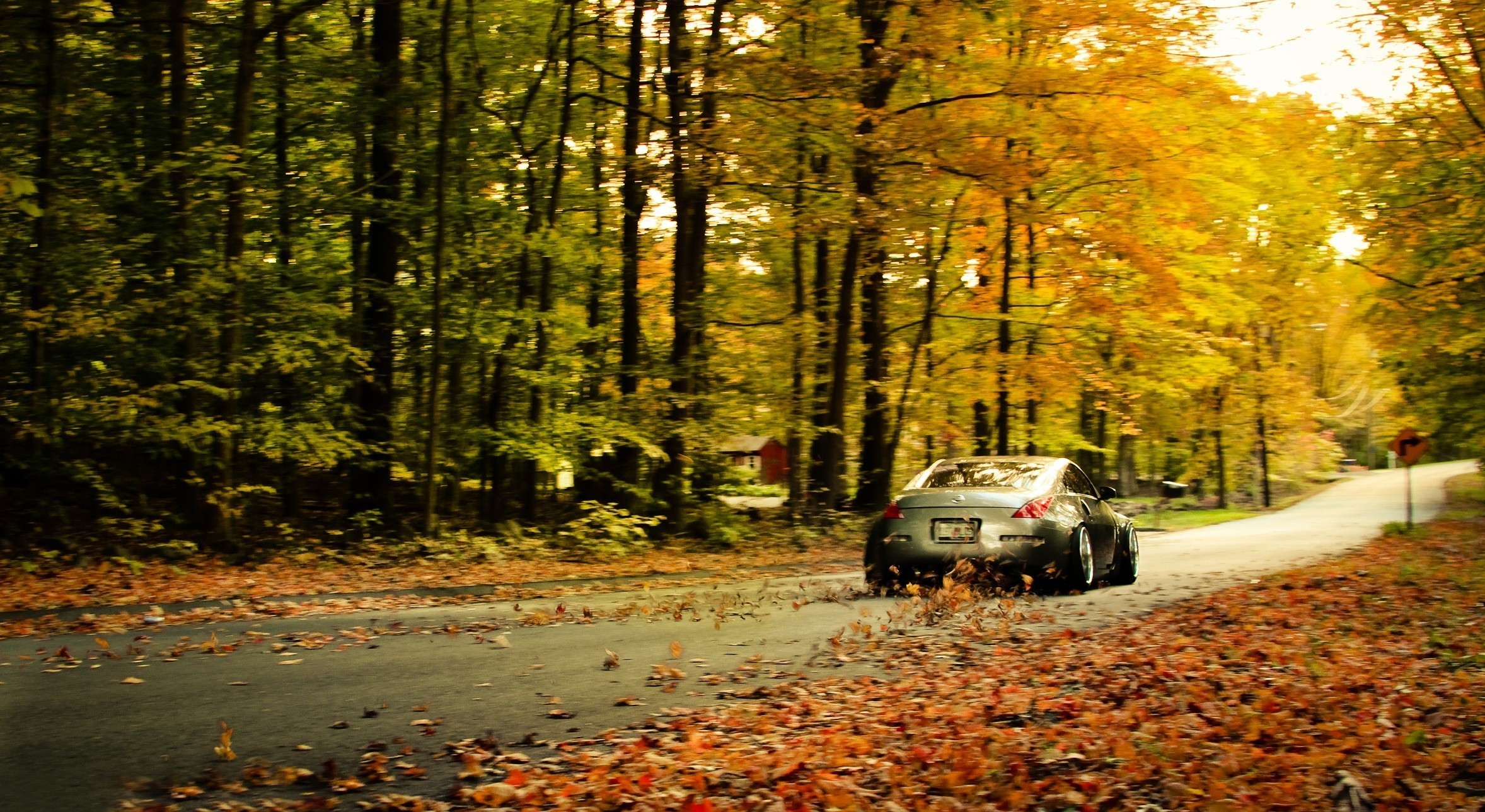 Nissan 350z fallen leaves wallpaper