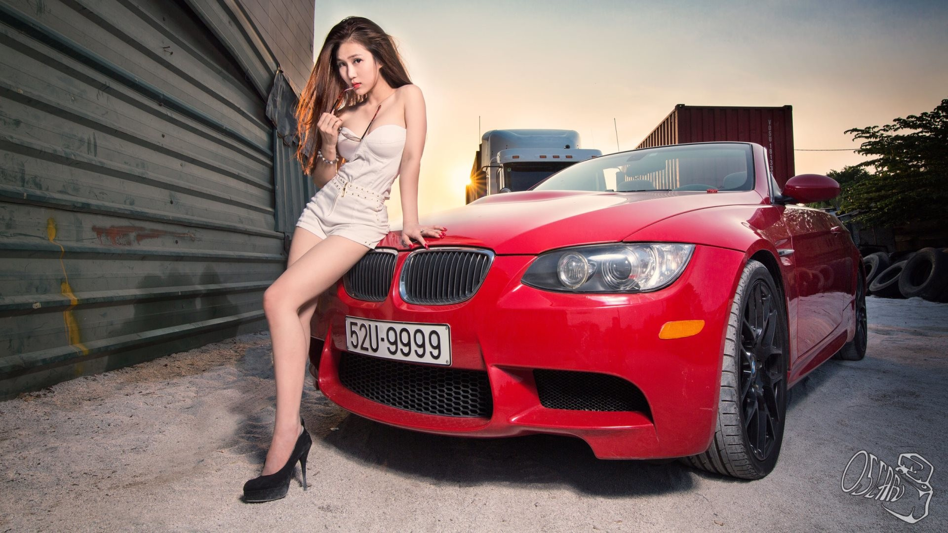 Chinese Girl With Car HD Wallpaper