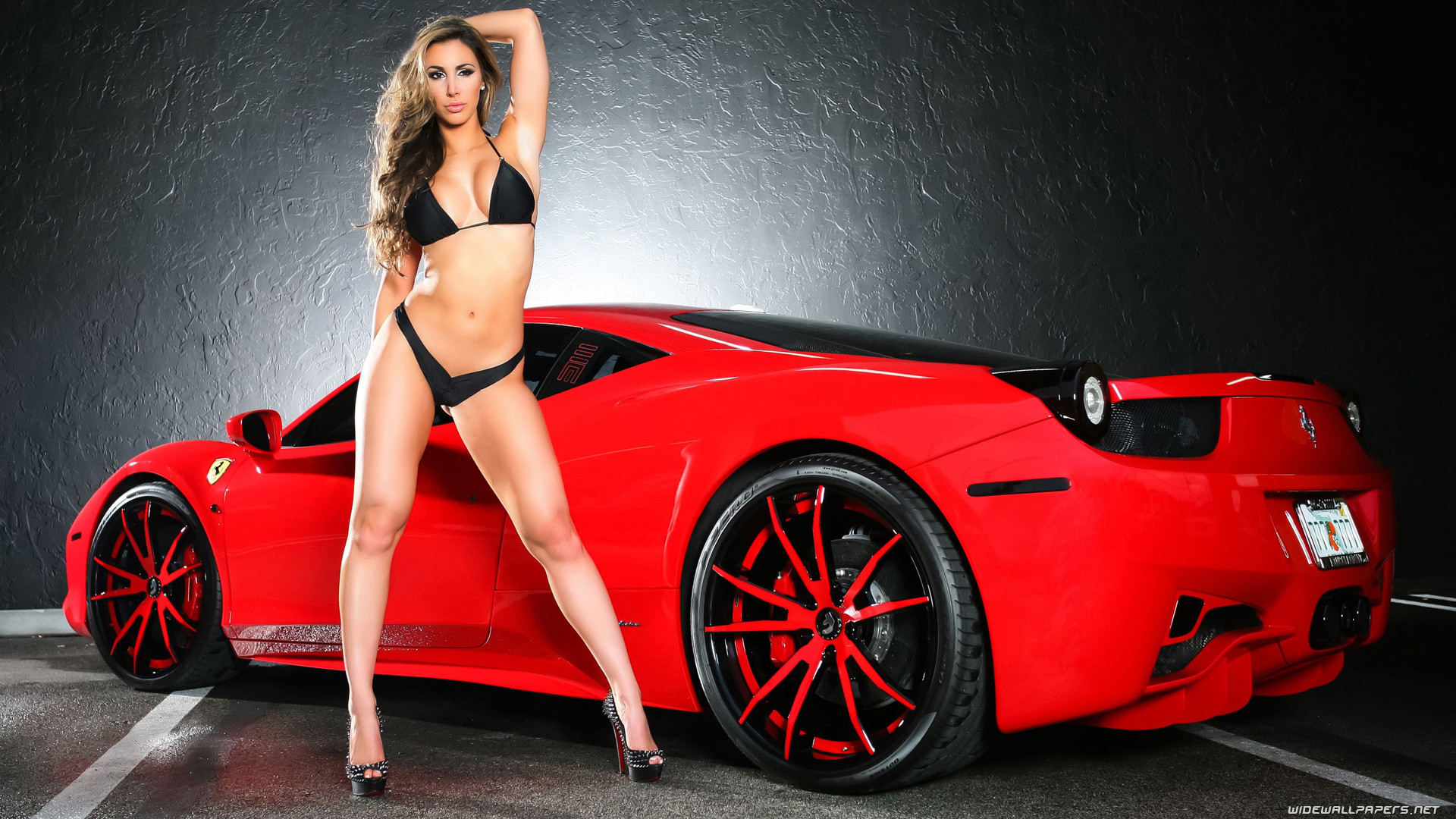 Ferrari and Girl wide wallpapers …