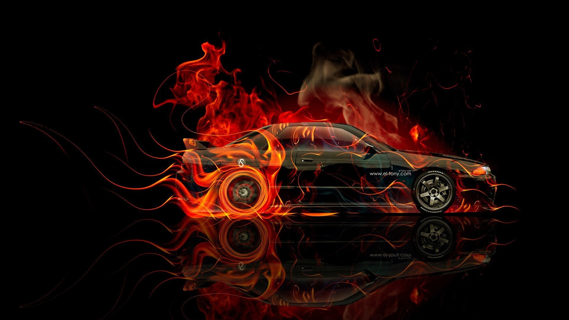 tony kokhan nissan skyline gtr r32 fire orange black side jdm el tony cars  photoshop hd